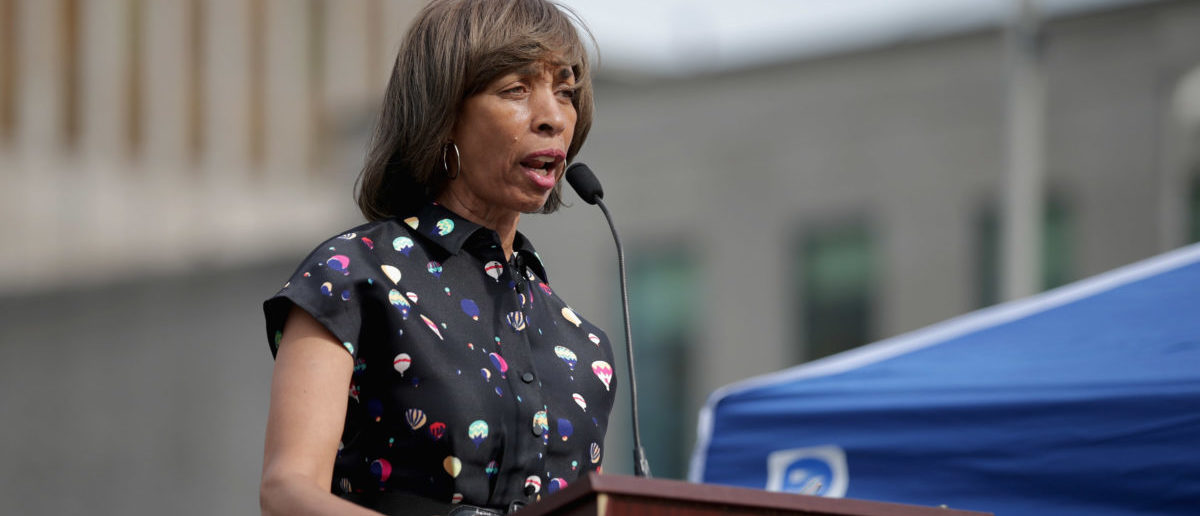 BALTIMORE, MD - APRIL 25: Baltimore mayoral candidate and state Sen. Catherine Pugh addresses a rally to mark the anniversary of the death of city resident Freddie Gray at the War Memorial Plaza across from the City Hall April 25, 2016 in Baltimore, Maryland. Getty Images/ Chip Somodevilla