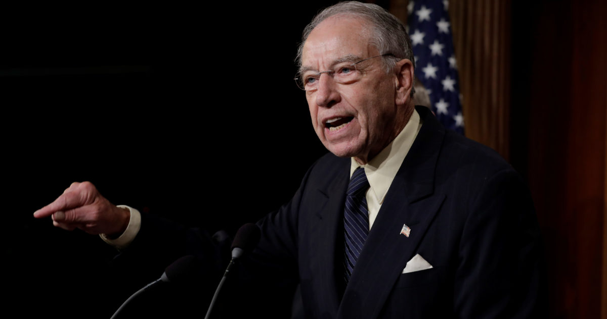 U.S. Senate Judiciary Committee Chairman Senator Chuck Grassley (R-IA) speaks during a news conference to discuss the FBI background investigation into the assault allegations against U.S. Supreme Court nominee Judge Brett Kavanaugh on Capitol Hill in Washington, U.S., Oct. 4, 2018. REUTERS/Yuri Gripas