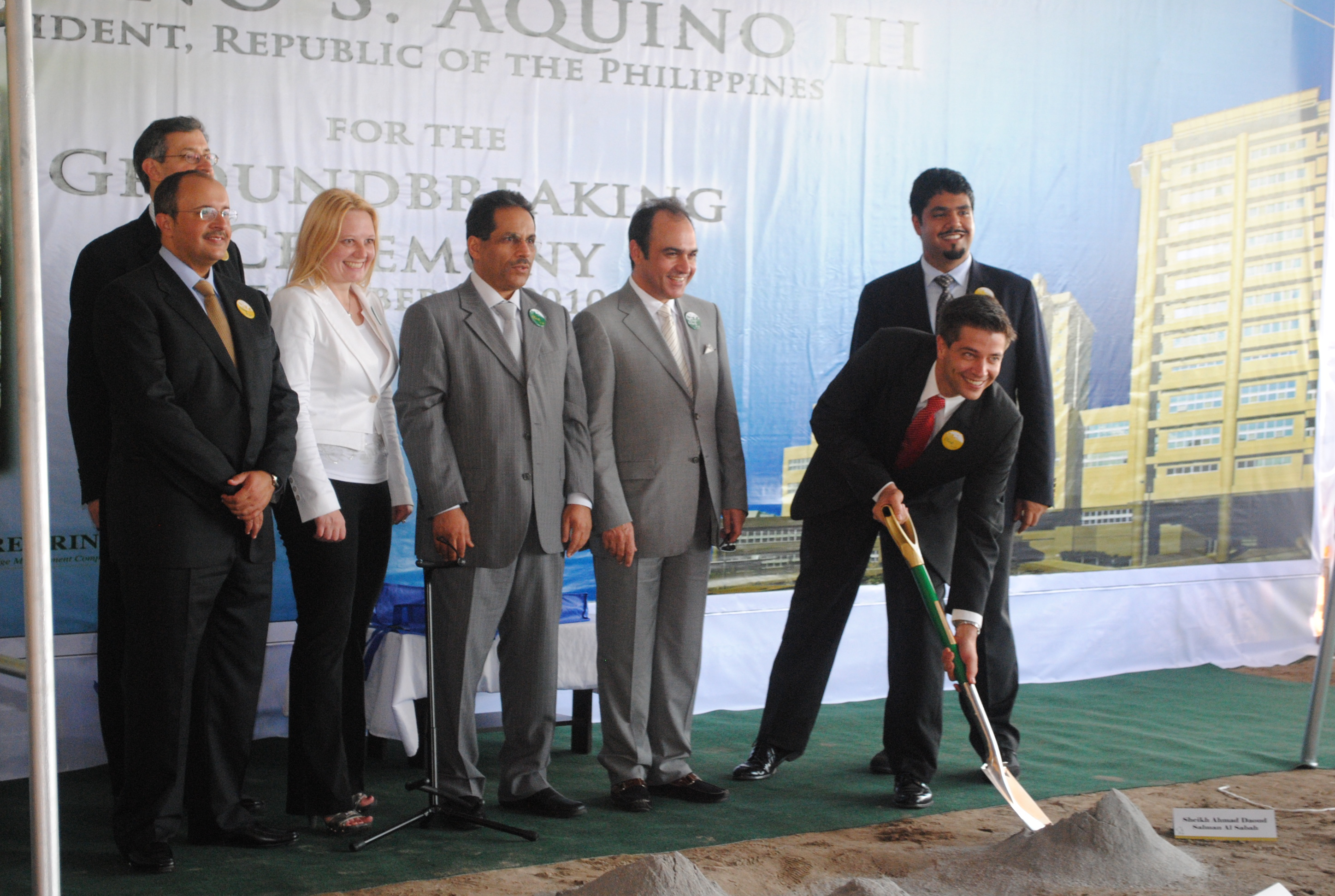 Marsha Lazareva (wearing white jacket) participates in the Medical City Hospital groundbreaking in the Philippines. Courtesy of KGL Investment