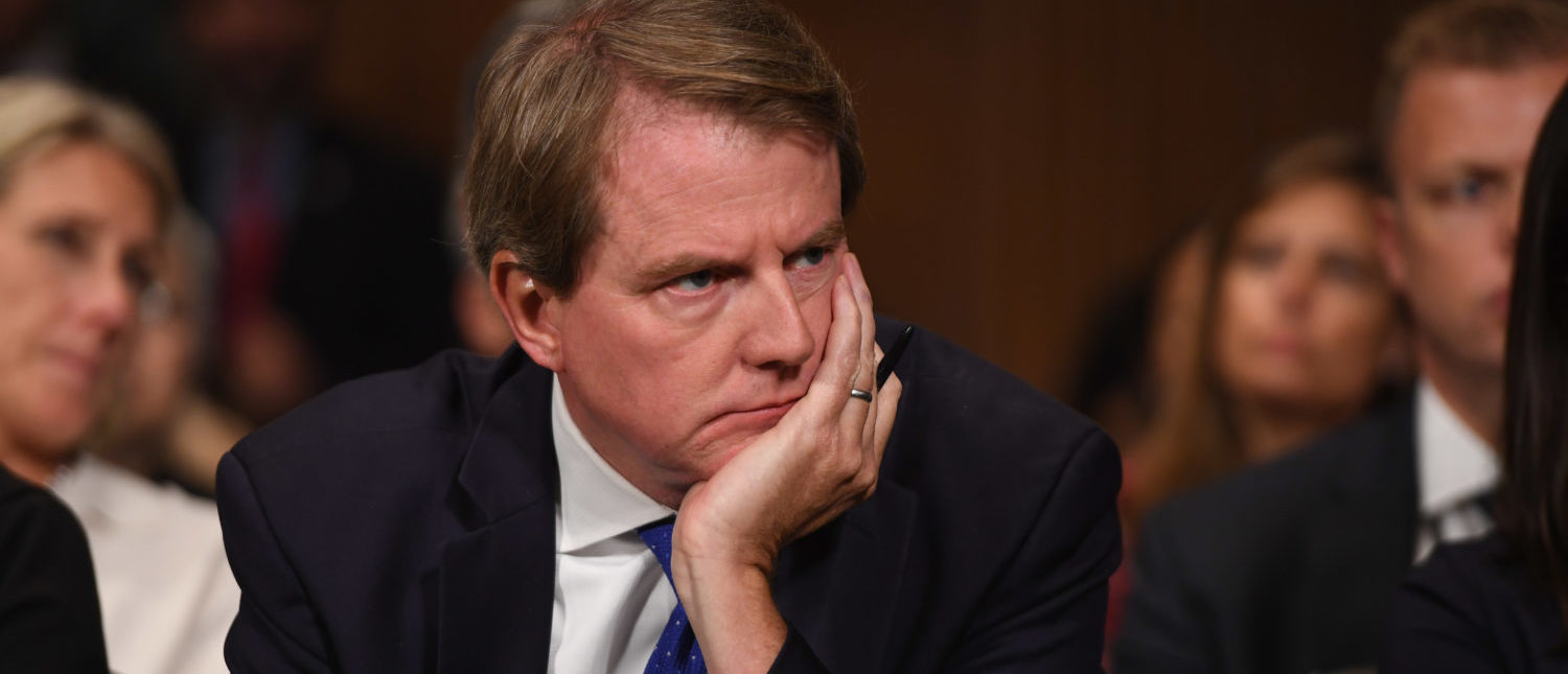 White House Counsel Donald McGahn watches Justice Brett Kavanaugh testify before the Senate Judiciary Committee on September 27, 2018. (Saul Loeb-Pool/Getty Images)