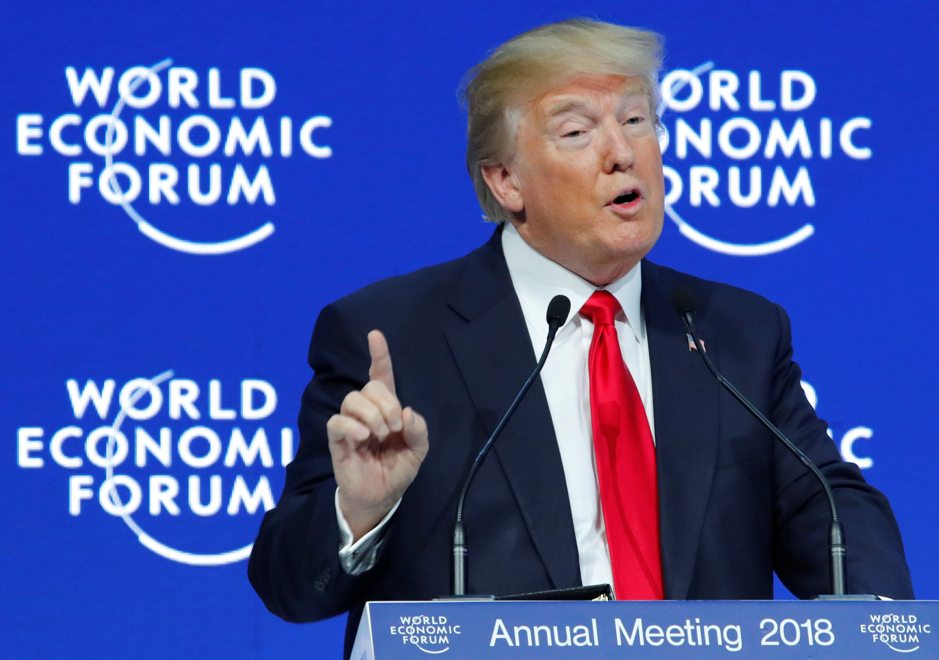 U.S. President Donald Trump gestures as he speaks during the World Economic Forum (WEF) annual meeting in Davos, Switzerland January 26, 2018. REUTERS/Denis Balibouse