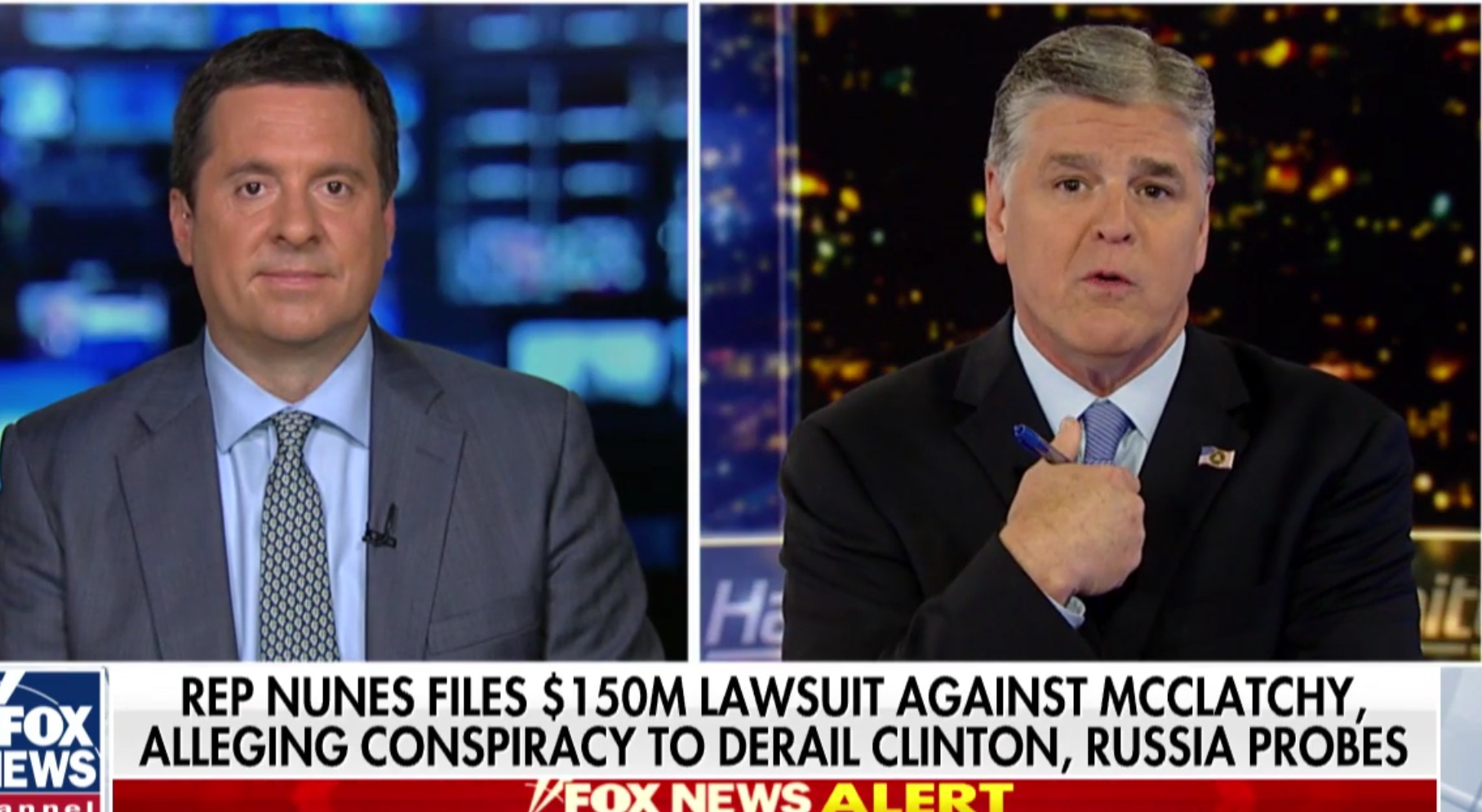 "CA Republican Rep. Devin Nunes appears on Fox News' ""Hannity"" to discuss his lawsuit against McClatchy media group, Apr. 8, 2019. Fox News screenshot."