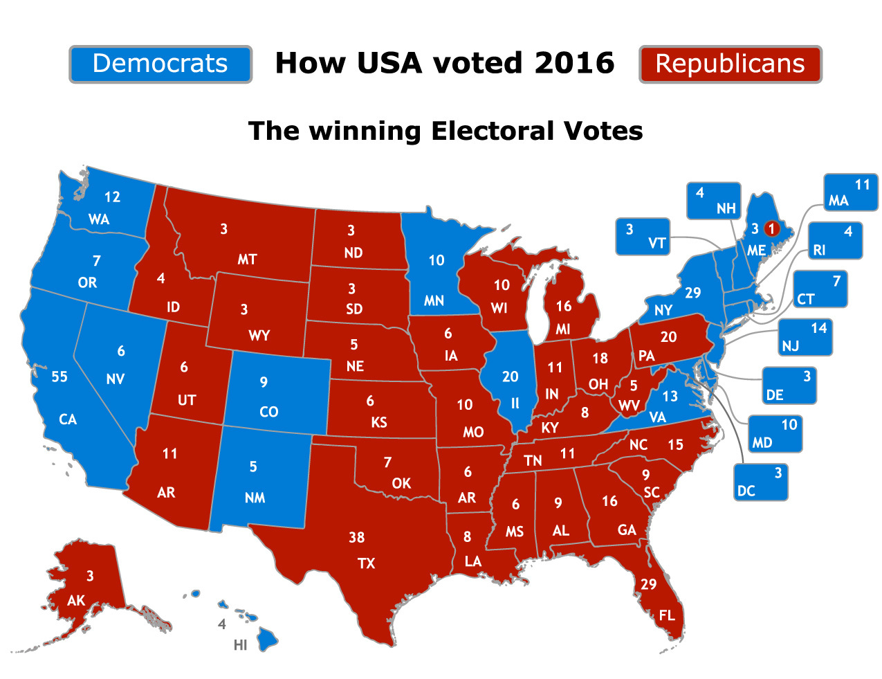 Electoral College Map showing 2016 Presidential Results. Graphic by Shutterstock.