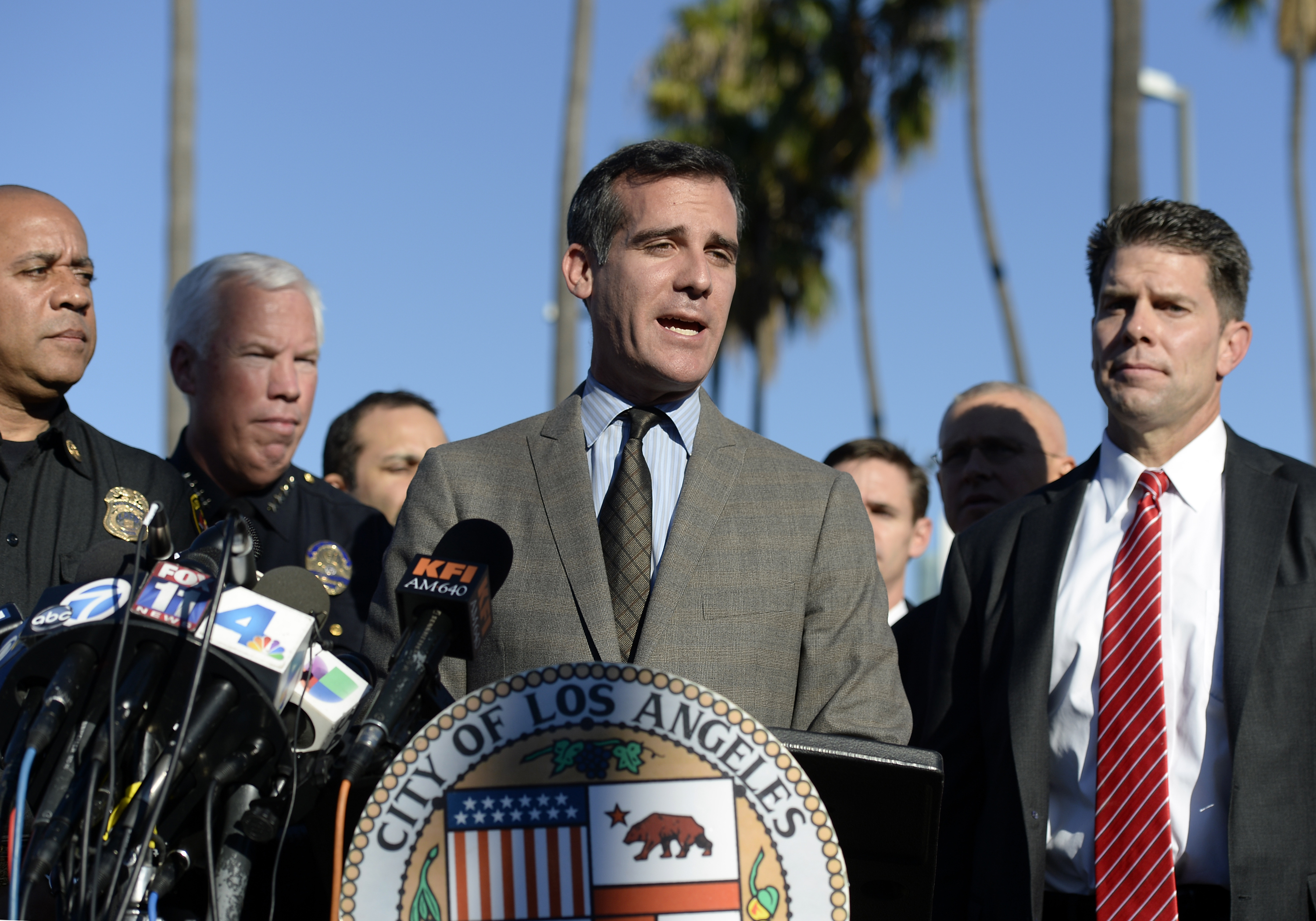 Los Angeles Mayor Eric Garcetti speaks during a news conference at Los Angeles International Airport (LAX) after a shooting November 1, 2013 in Los Angeles, California. (Photo by Kevork Djansezian/Getty Images)