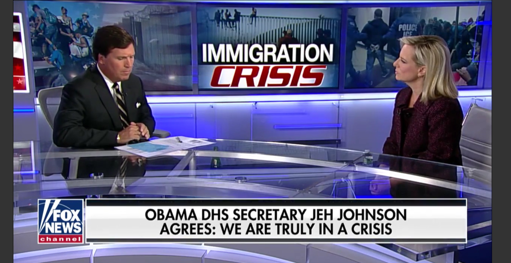 "Department of Homeland Security Secretary Kirstjen Nielsen discusses the border crisis on Fox News' ""Tucker Carlson Tonight,"" Apr. 2, 2019. Fox News screenshot."