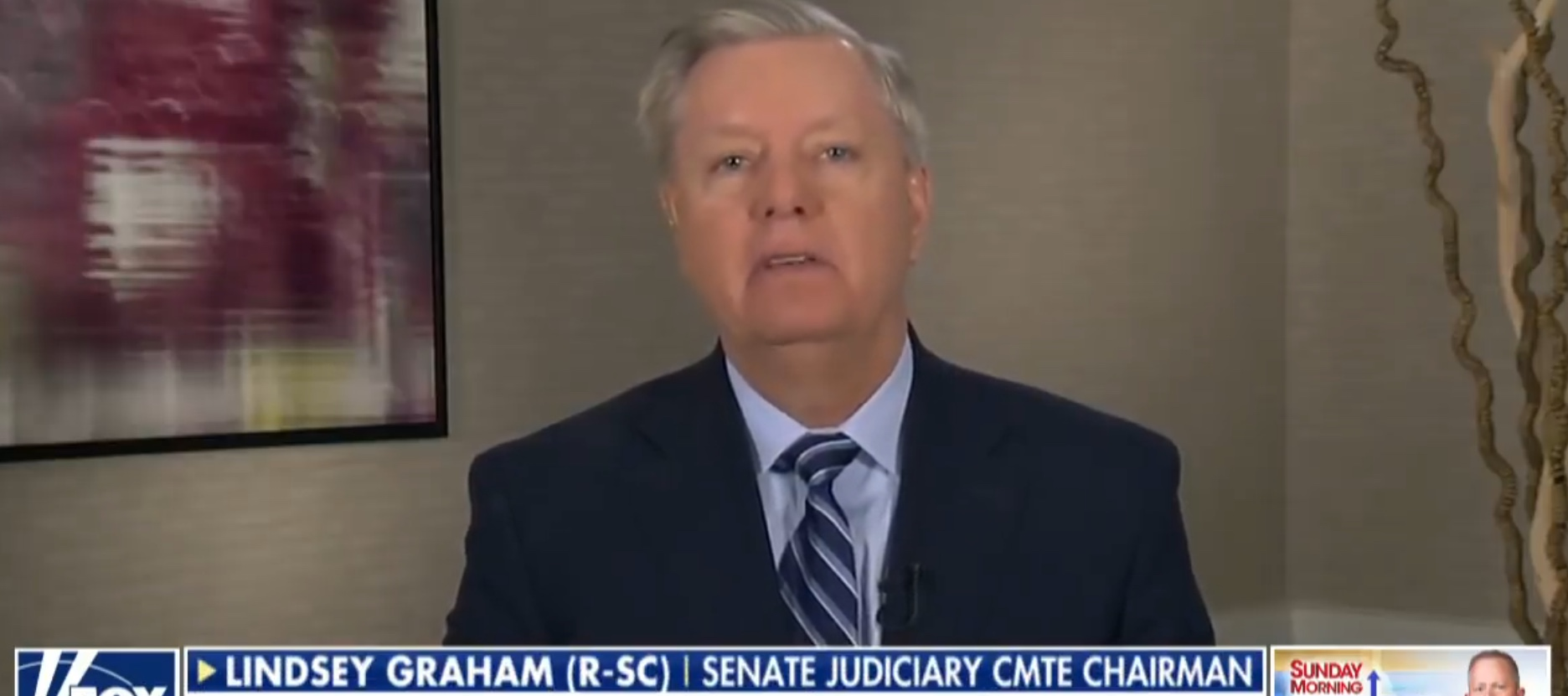 """S.C. Republican Sen. Lindsey Graham appears on Fox News' """"Sunday Morning Futures"""" to discuss Clinton emails, March 31, 2019. YouTube screenshot"""