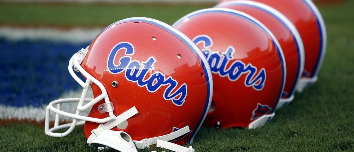 GAINESVILLE, FL - SEPTEMBER 23: Florida Gator helmets sit on the field prior to a game against the Kentucky Wildcats on September 23, 2006 at Ben Hill Griffin Stadium at Florida Field in Gainesville, Florida. The Gators defeated the Wildcats 26 to 7. (Photo by Marc Serota/Getty Images)