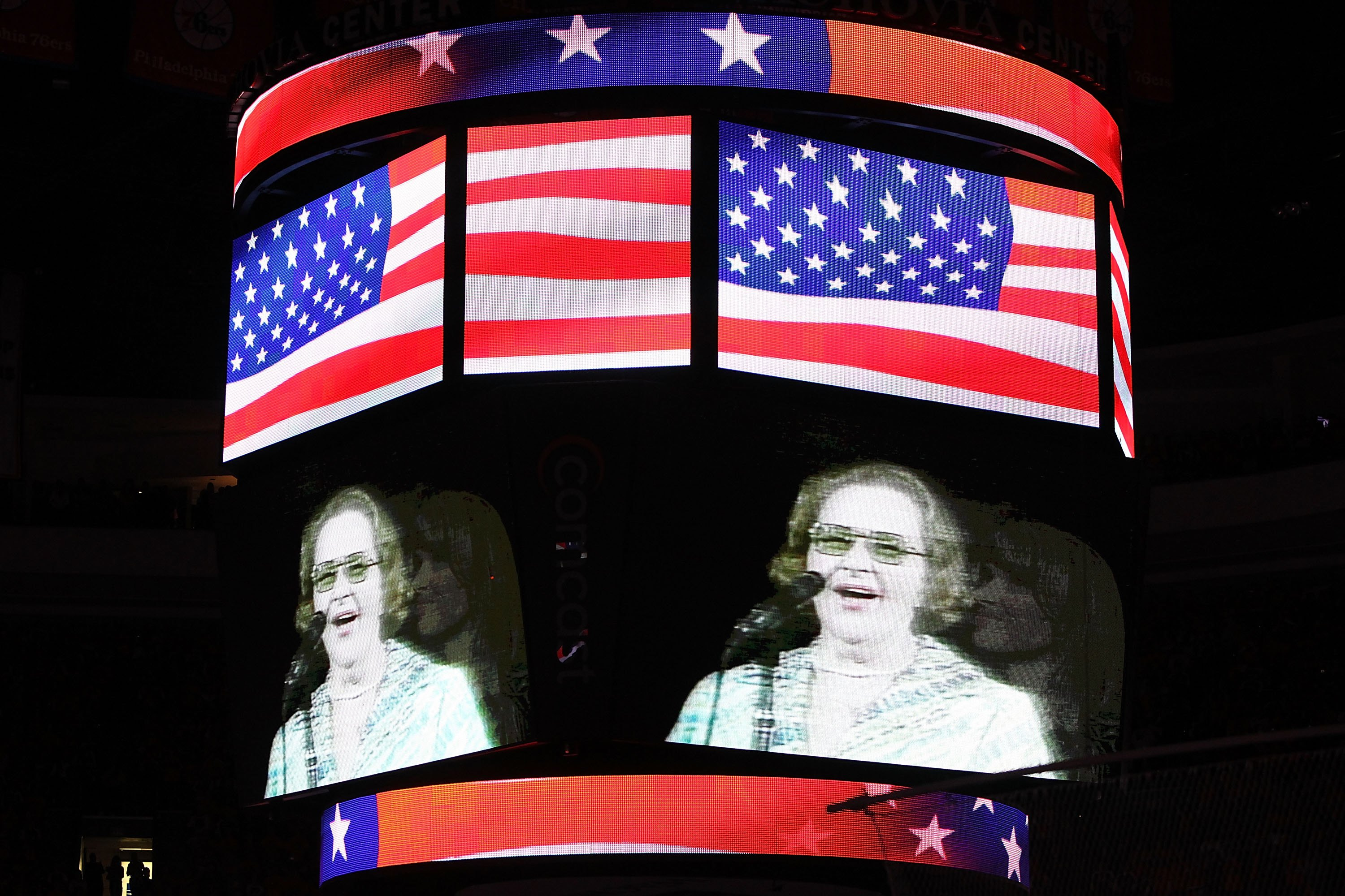 Singer Kate Smith is seen on the screen before Game Six of the 2010 NHL Stanley Cup Final between the Chicago Blackhawks and the Philadelphia Flyers at the Wachovia Center on June 9, 2010 in Philadelphia, Pennsylvania. (Photo by Andre Ringuette/Getty Images)