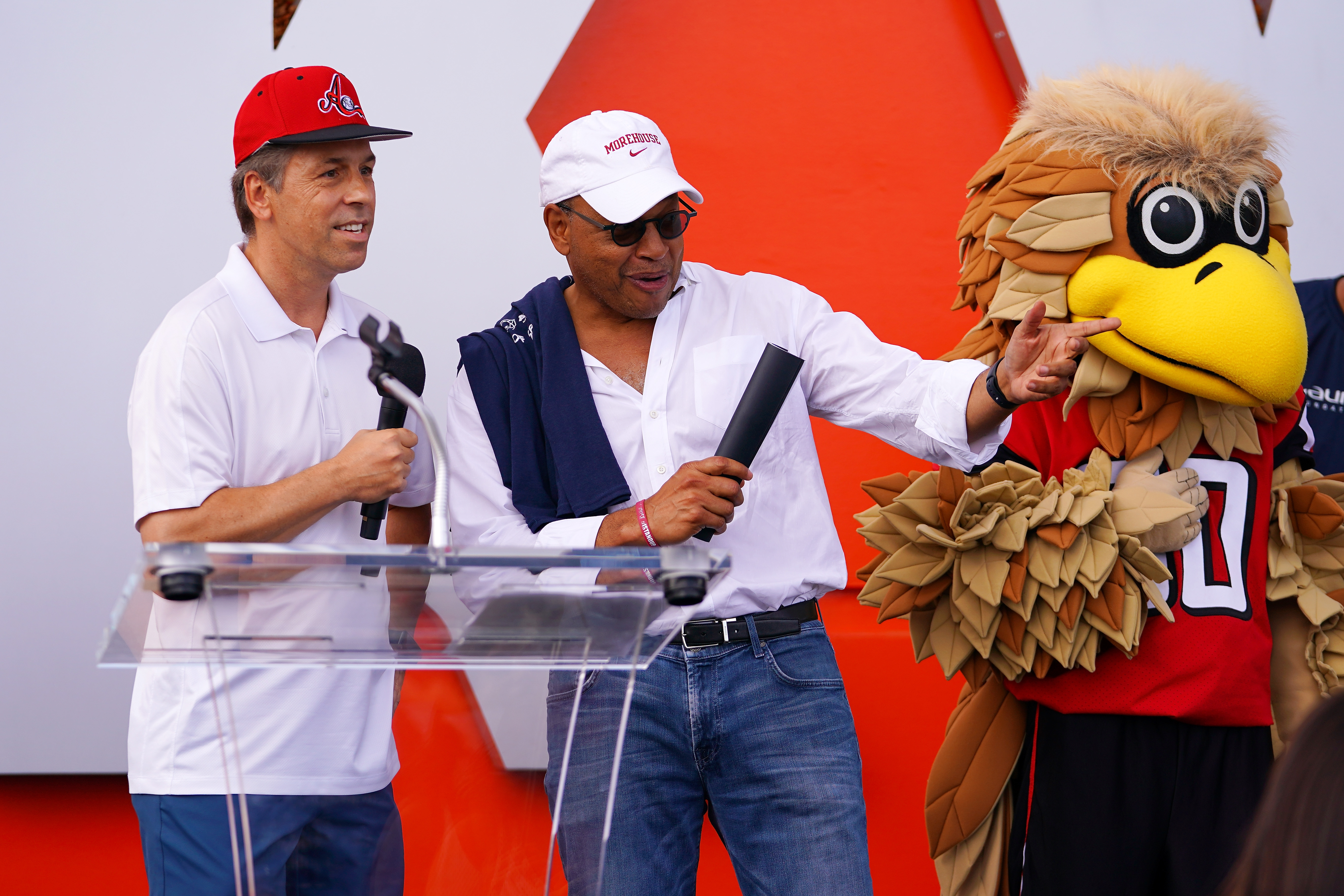 CEO and President at Mercedes-Benz USA Dietmar Exler and David A. Thomas, President of Morehouse College, speak during the Laureus Sport for Good Atlanta Day of Sport on September 29, 2018 in Atlanta, Georgia. (Photo by Daniel Shirey/Getty Images for Laureus)