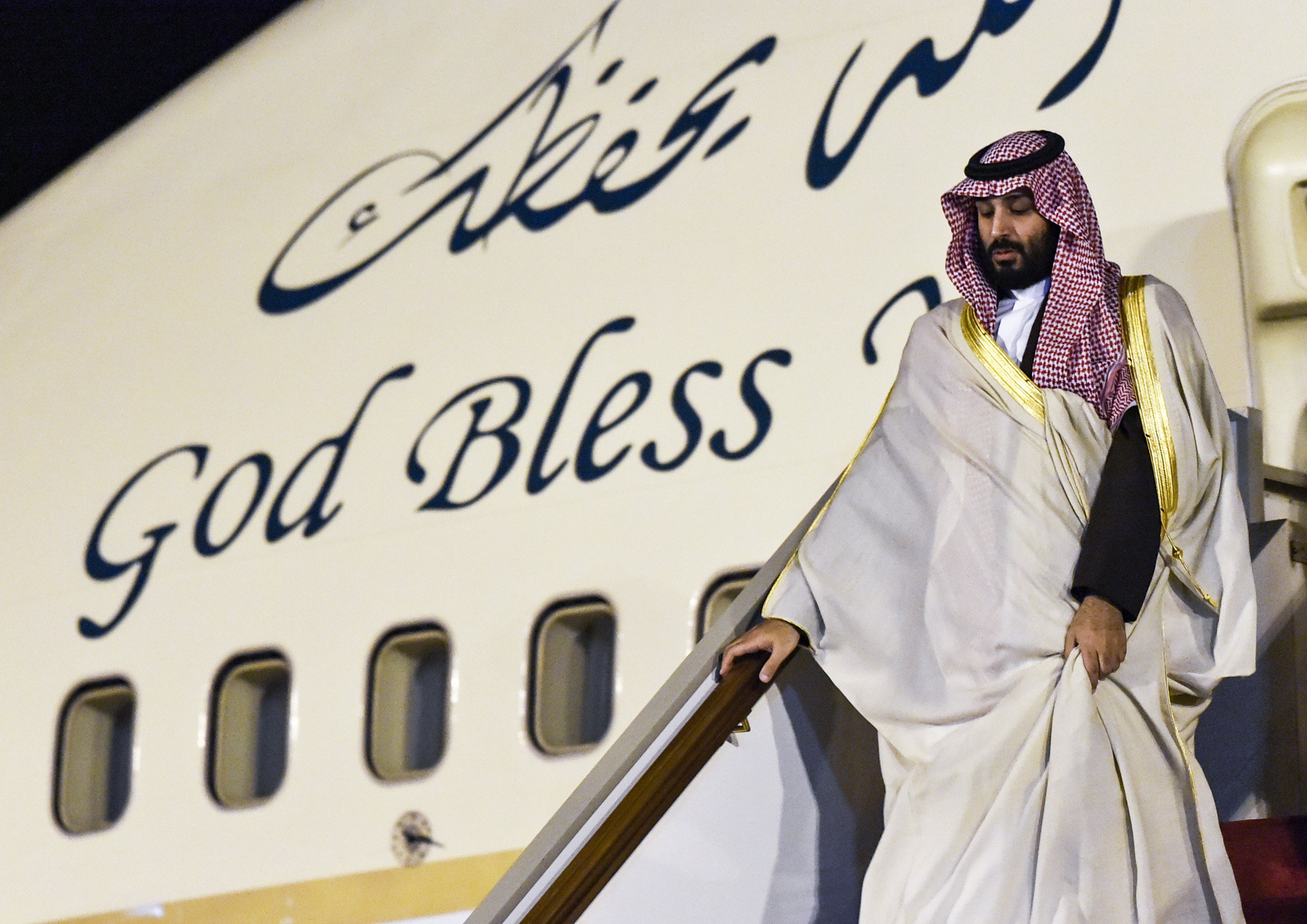 Saudi Crown Prince Mohammed bin Salman descends from his plane as he arrives at Algiers International Airport, southeast of the capital Algiers on December 2, 2018. (RYAD KRAMDI/AFP/Getty Images)