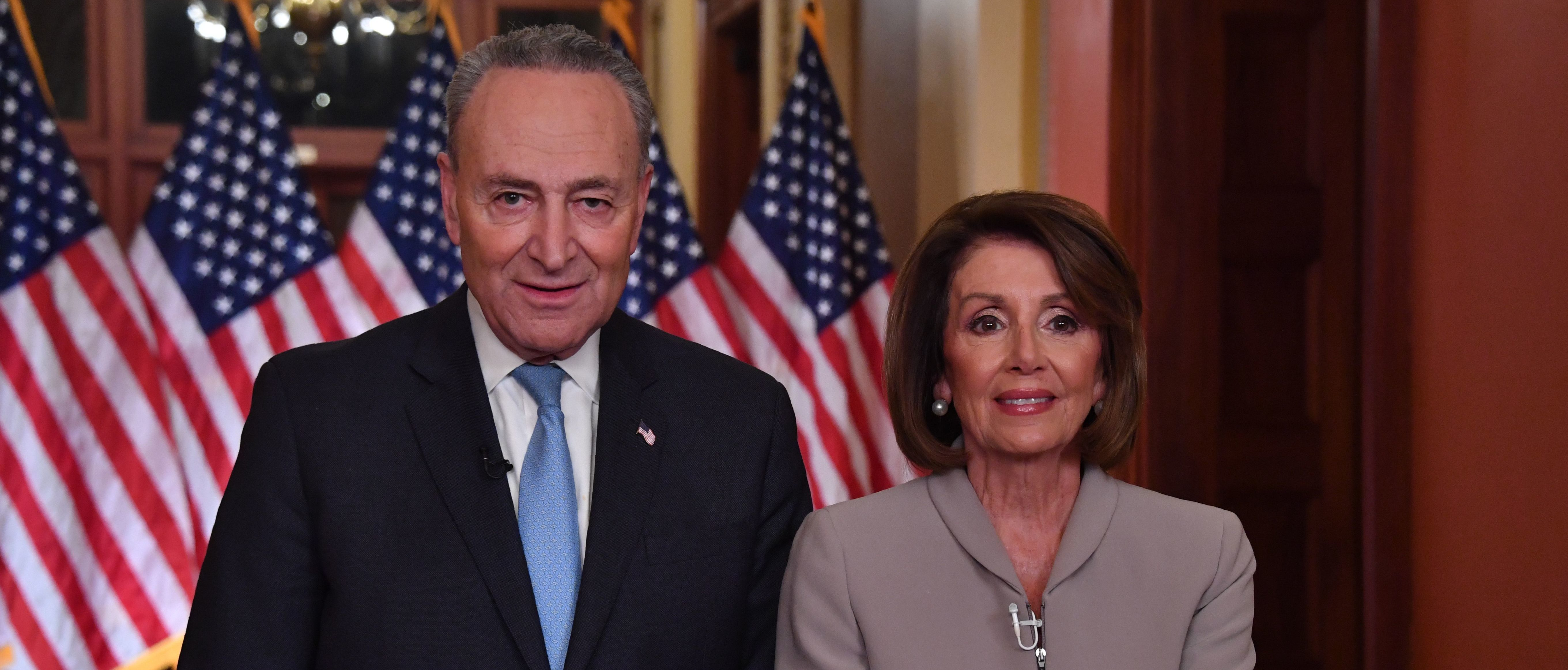 Rep. Nancy Pelosi and Sen. Chuck Schumer deliver an address on border security. (NICHOLAS KAMM/AFP/Getty Images)