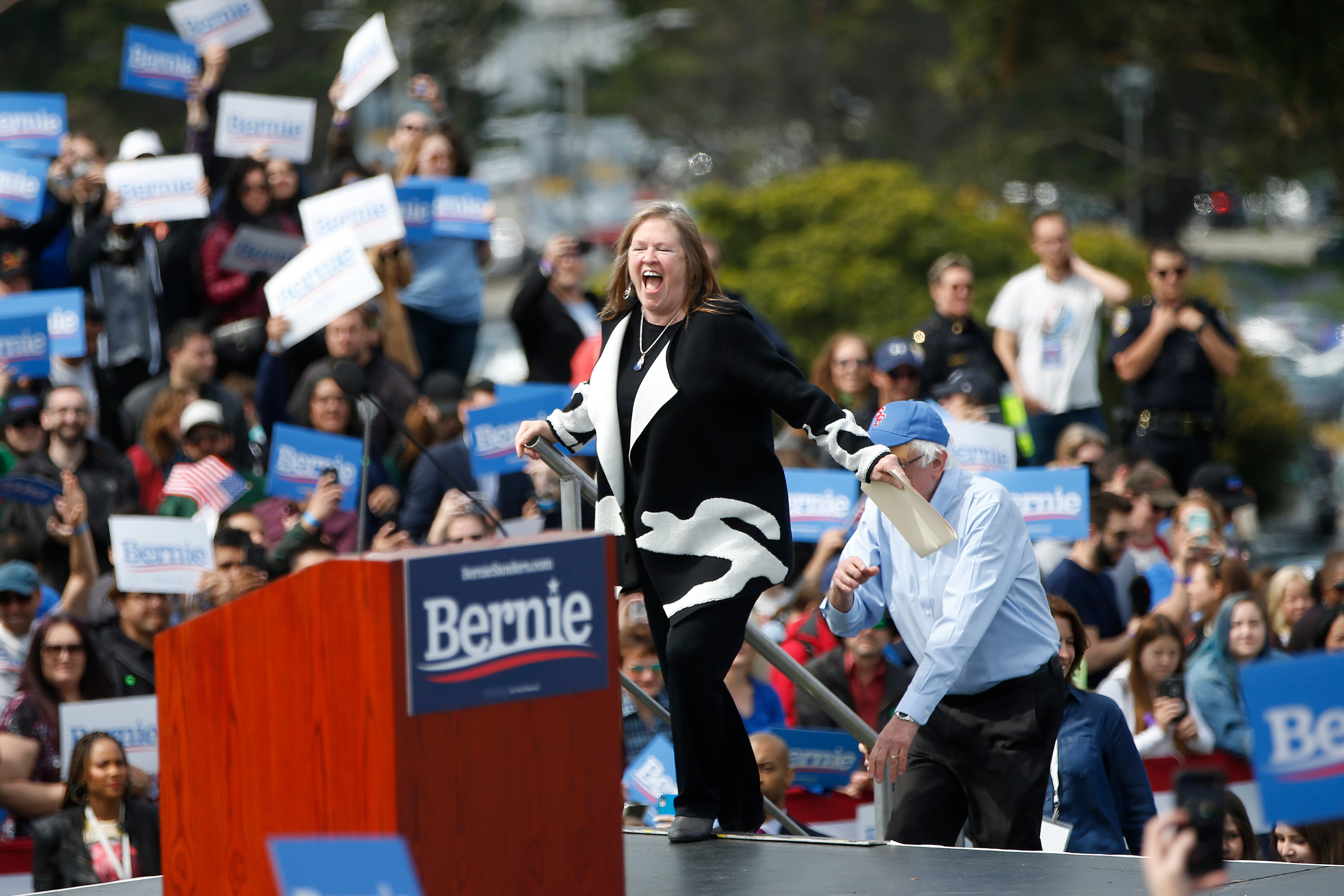 Jane Sanders, wife of 2020 Democratic presidential candidate U.S. Sen. Bernie Sanders reacts as she arrives on stage during a campaign rally at Great Meadow Park in Fort Mason on March 24, 2019 in San Francisco, California. (Photo by Stephen Lam/Getty Images)