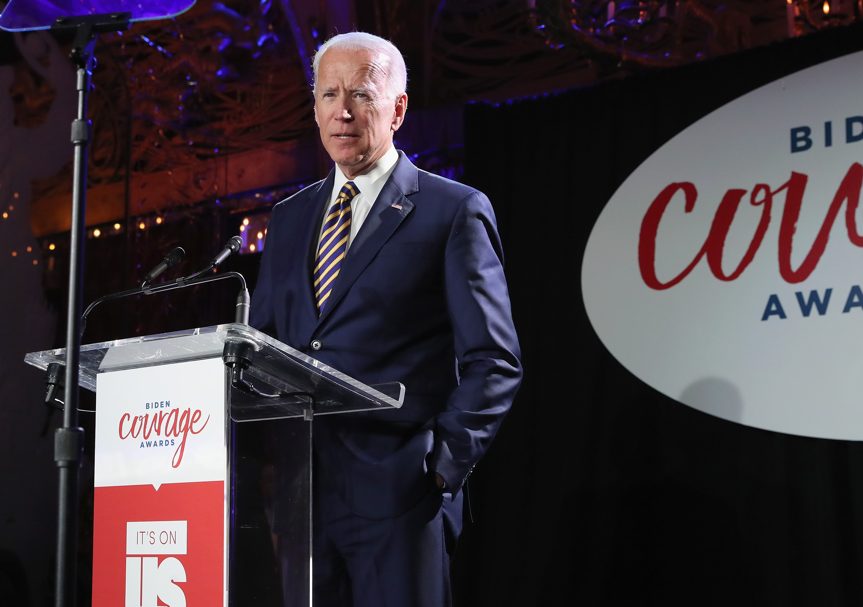 NEW YORK, NY - MARCH 26: Former Vice President of the United States, Joe Biden speaks onstage during The 2019 Biden Courage Awards at Russian Tea Room on March 26, 2019 in New York City. (Photo by Cindy Ord/Getty Images for It's On Us)