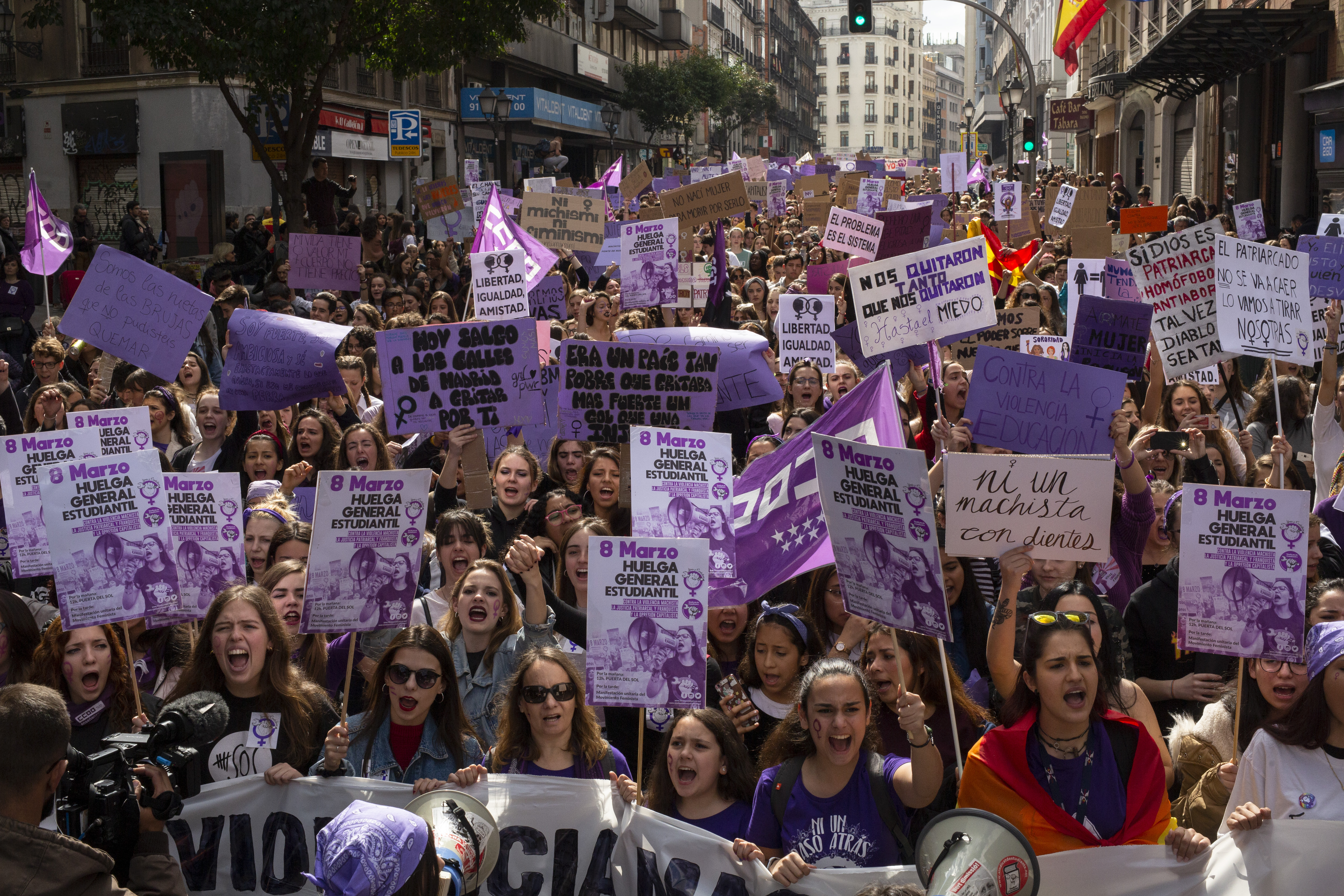 MADRID, SPAIN - MARCH 08: Students holds placards as they protest along the streets during the International Women's Day on March 08, 2019 in Madrid, Spain. (Pablo Blazquez Dominguez/Getty Images)