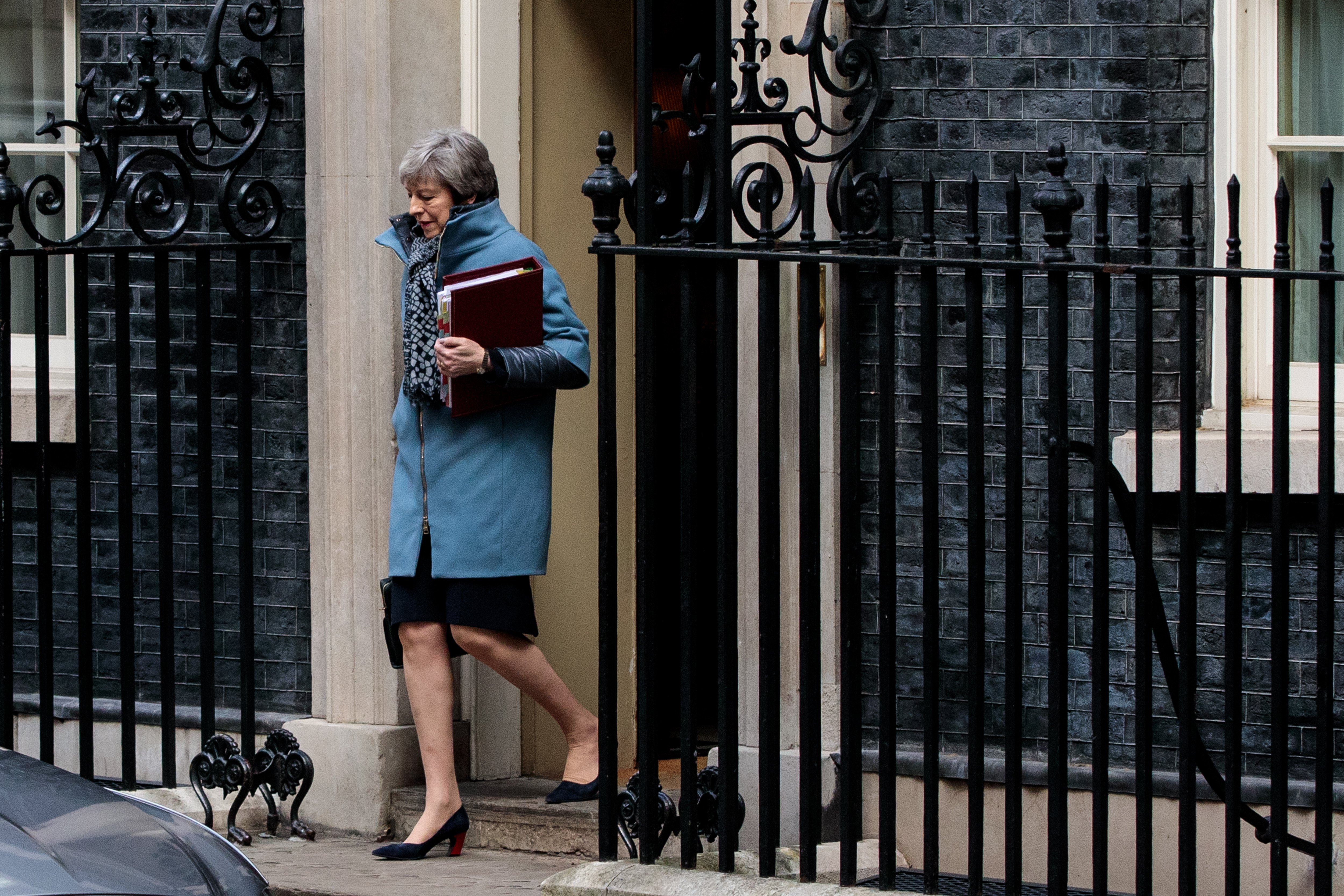 British Prime Minister Theresa May leaves Number 10 Downing Street for Prime Minister's Question in Parliament on April 3, 2019 in London, England. (Photo by Jack Taylor/Getty Images)