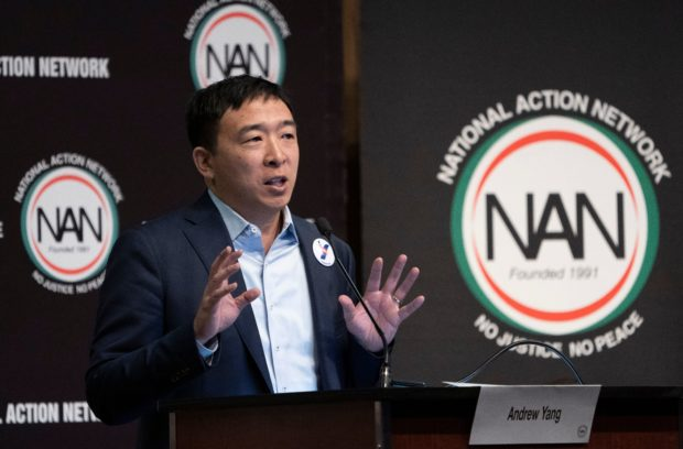 Democratic Presidential candidate Andrew Yang speaks during a gathering of the National Action Network on April 3, 2019 in New York. - The National Action Network is a not-for-profit, civil rights organization founded by the Reverend Al Sharpton. (Photo by Don Emmert / AFP) (Photo credit should read DON EMMERT/AFP/Getty Images)