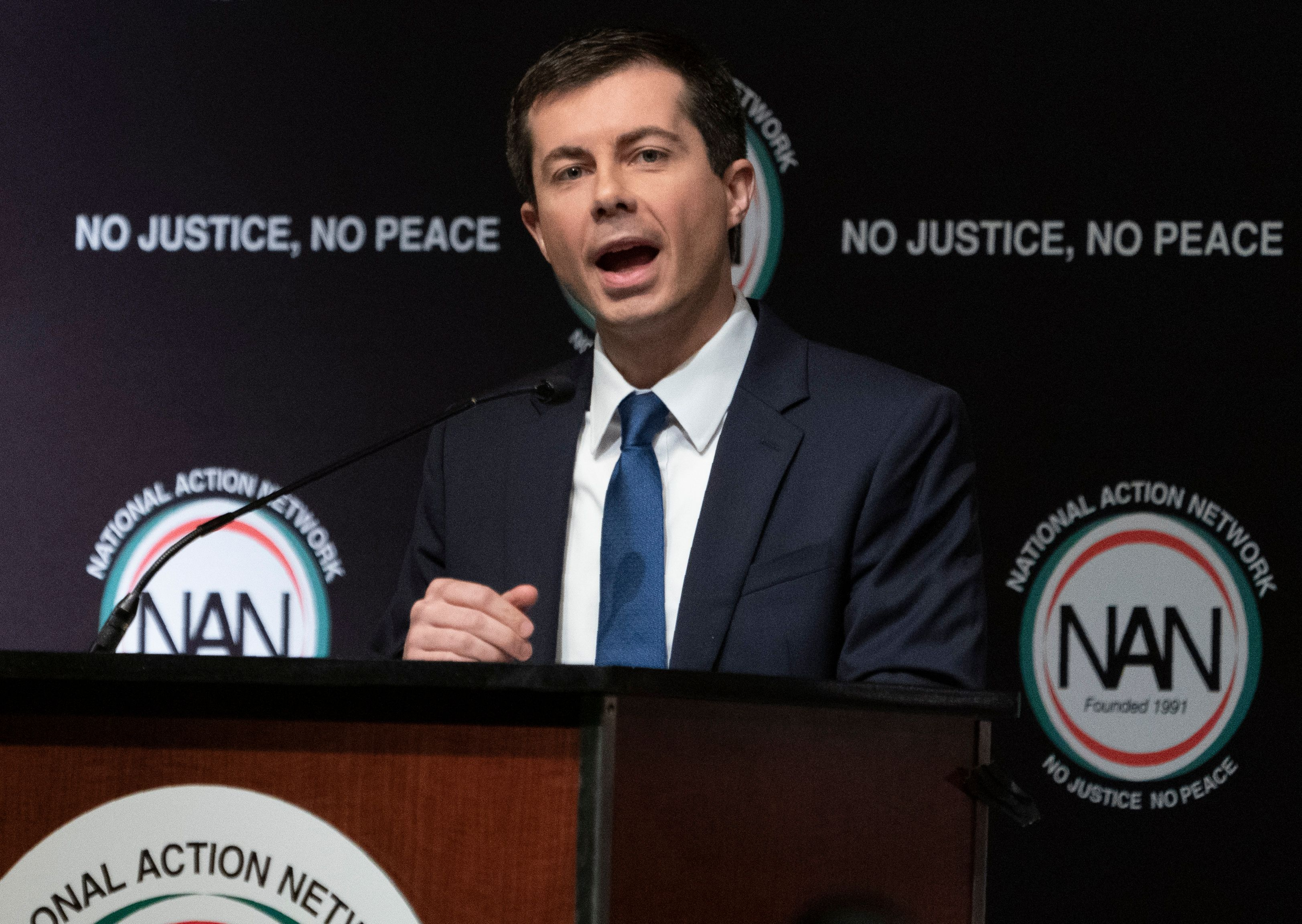 Democratic Presidential candidate Pete Buttigieg speaks during a gathering of the National Action Network April 4, 2019 in New York. (DON EMMERT/AFP/Getty Images)