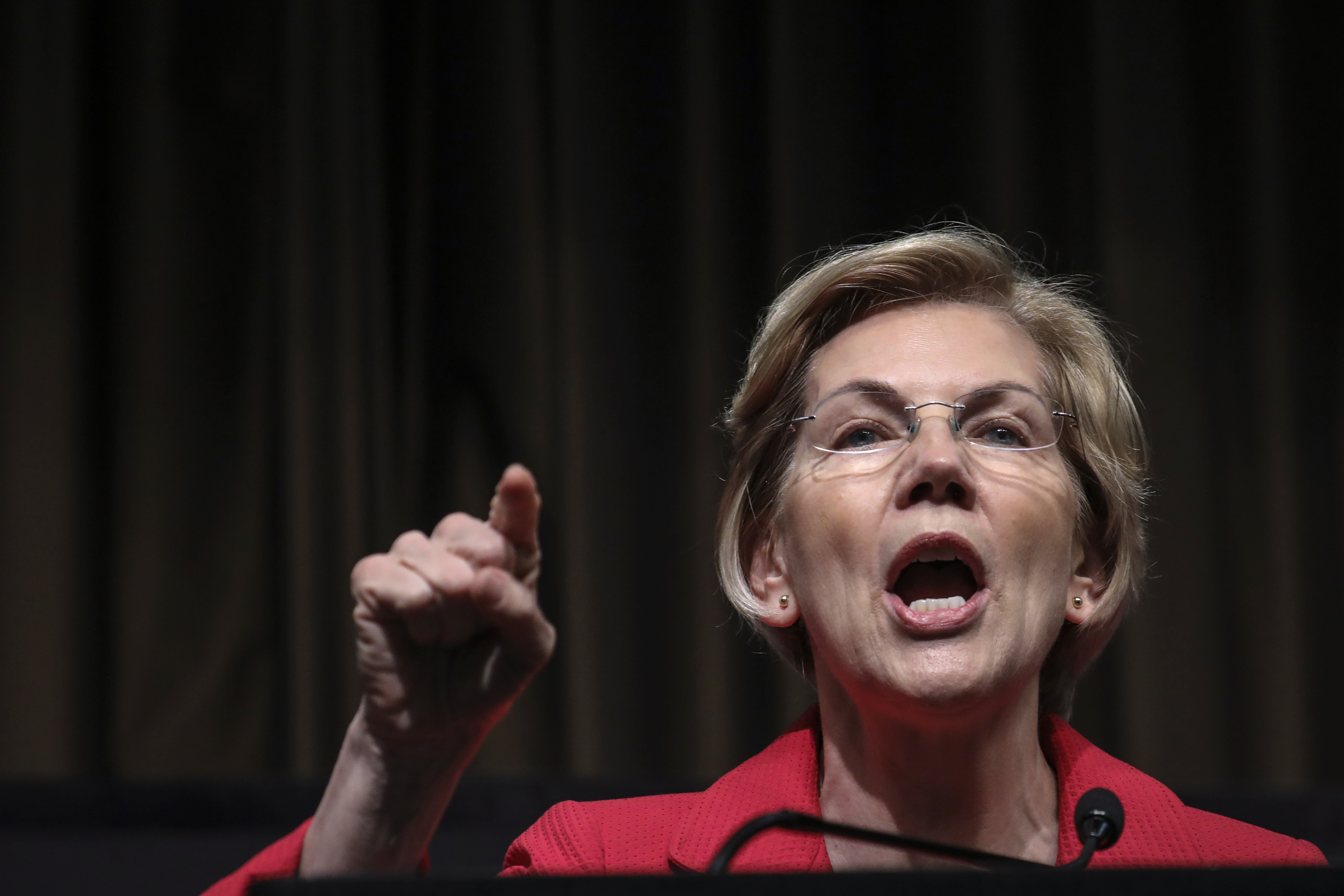 NEW YORK, NY - APRIL 5: Democratic presidential candidate U.S. Sen. Elizabeth Warren (D-MA) speaks at the National Action Network's annual convention, April 5, 2019 in New York City. A dozen 2020 Democratic presidential candidates are speaking at the organization's convention this week. Founded by Rev. Al Sharpton in 1991, the National Action Network is one of the most influential African American organizations dedicated to civil rights in America. (Photo by Drew Angerer/Getty Images)