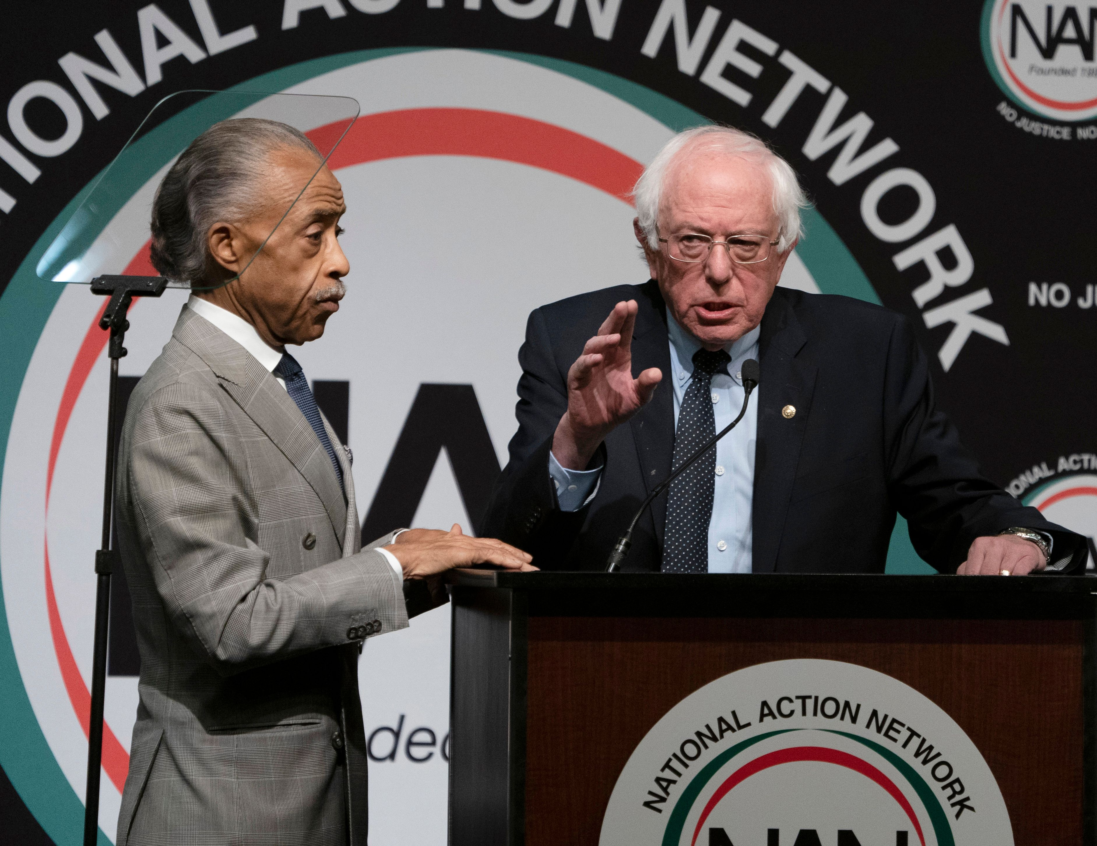 Democratic Presidential candidate Bernie Sanders (R) is joined by the Reverend Al Sharpton during a gathering of the National Action Network April 5, 2019 in New York. (Photo by Don Emmert / AFP) (Photo credit should read DON EMMERT/AFP/Getty Images)