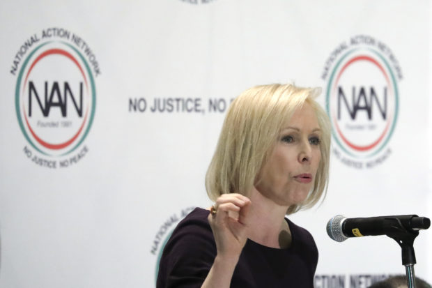 NEW YORK, NY - APRIL 5: Democratic presidential candidate Sen. Kirsten Gillibrand (D-NY) speaks at the National Action Network's annual convention, April 5, 2019 in New York City. A dozen 2020 Democratic presidential candidates are speaking at the organization's convention this week. Founded by Rev. Al Sharpton in 1991, the National Action Network is one of the most influential African American organizations dedicated to civil rights in America. (Photo by Drew Angerer/Getty Images)