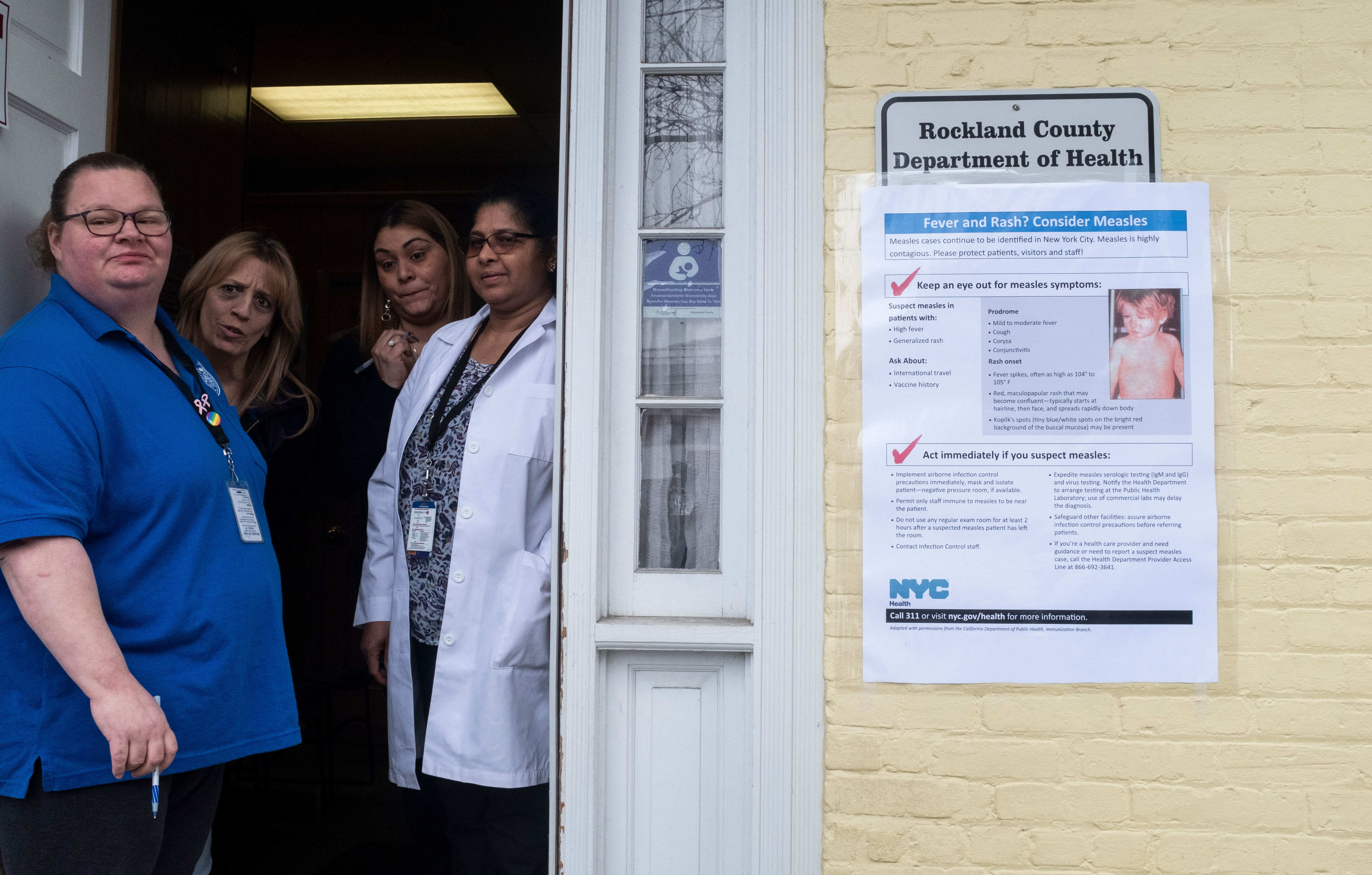 This picture taken on April 5, 2019 shows nurses waiting for patients at the Rockland County Health Department in Haverstraw, Rockland County, New York. (JOHANNES EISELE/AFP/Getty Images)