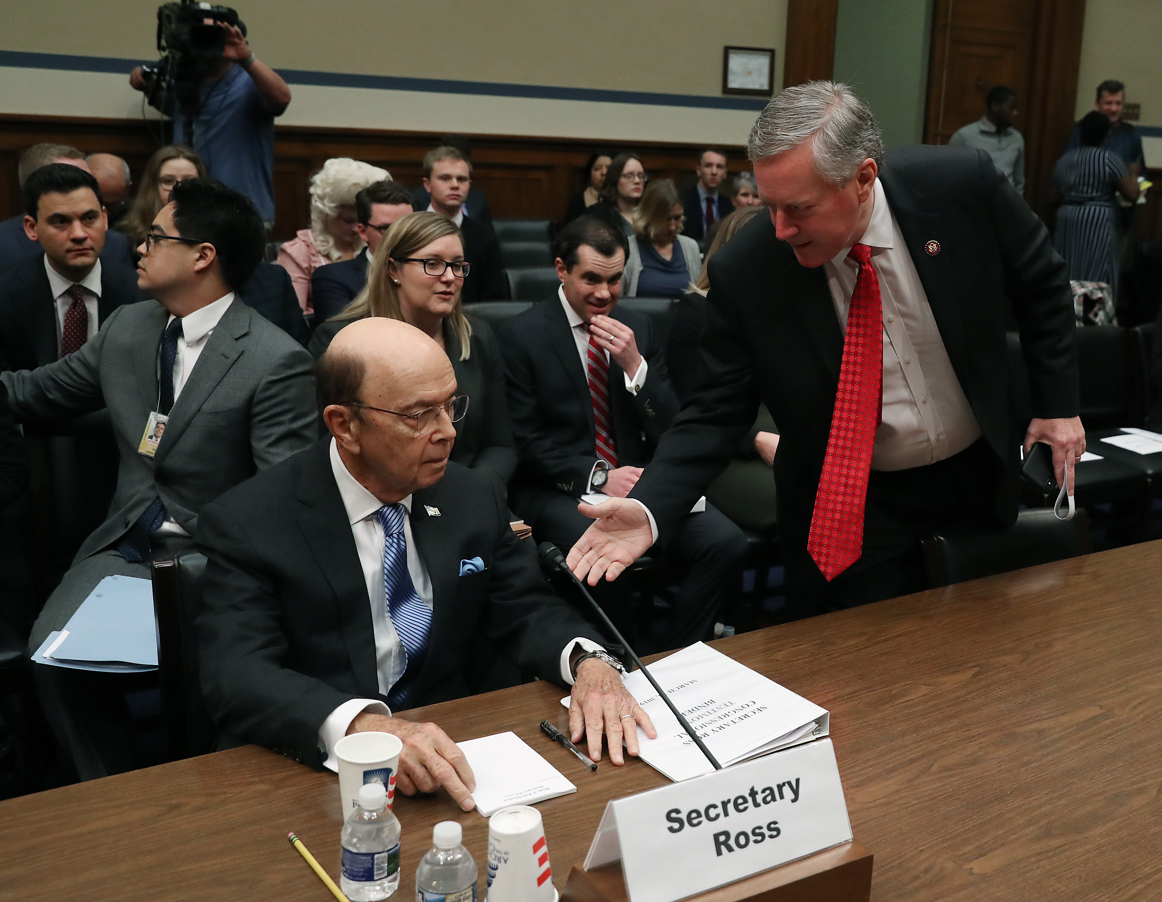 U.S. Rep. Mark Meadows (R) greets Commerce Secretary Wilbur Ross during a House Oversight and Reform Committee hearing, on March 14, 2019 in Washington, DC. (Photo by Mark Wilson/Getty Images)