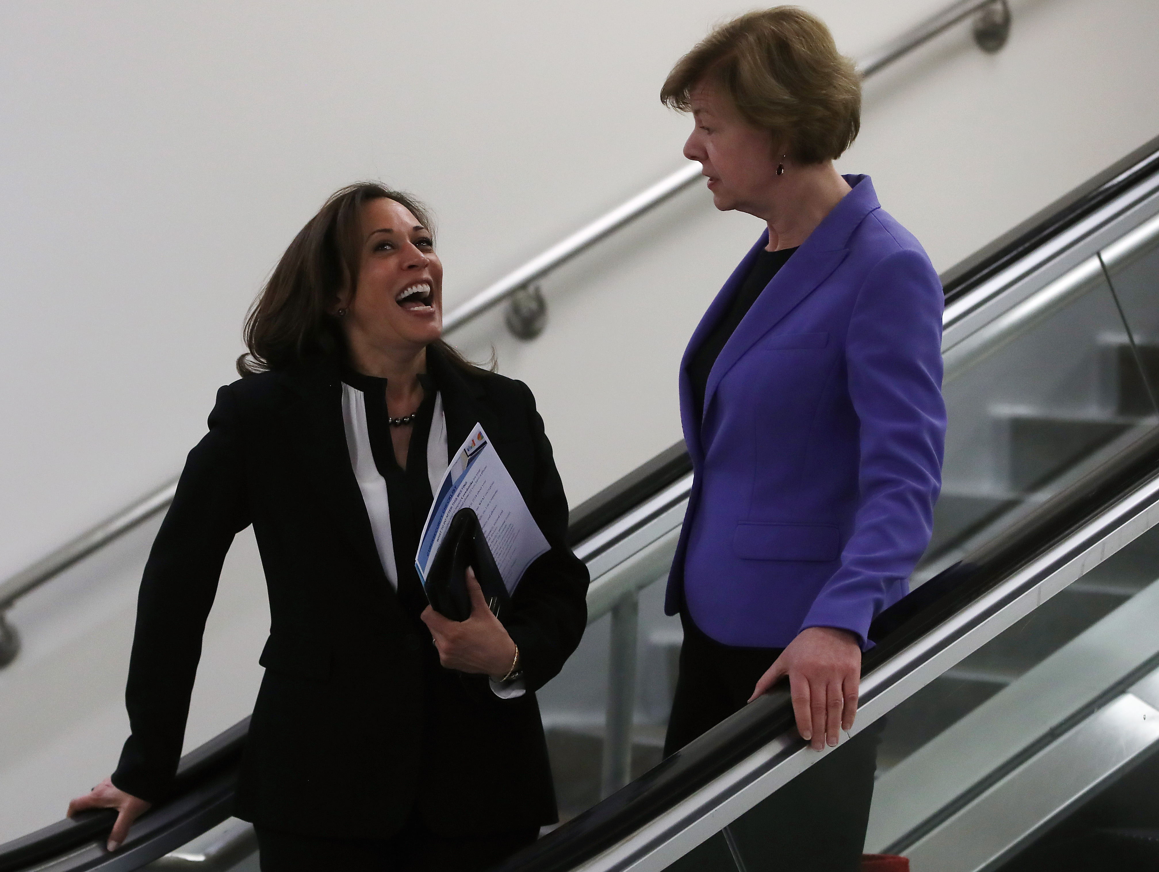 Sen. Kamala Harris, talks with Sen. Tammy Baldwin in the Senate subway after the Senate voted to overturn the President's national emergency border declaration, at the U.S. Capitol on March 14, 2019 in Washington, DC. (Photo by Mark Wilson/Getty Images)