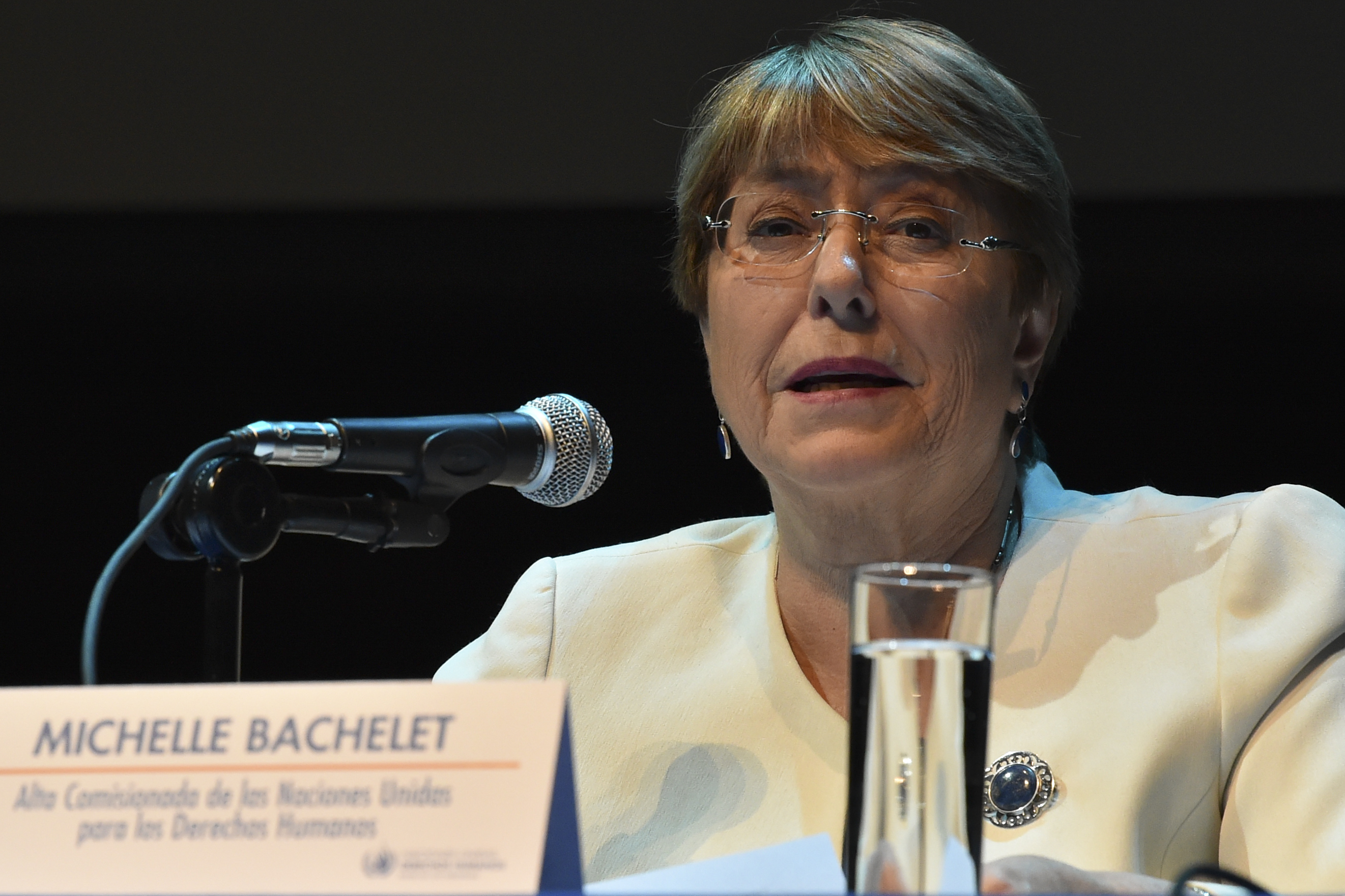 UN human rights chief Michelle Bachelet speaks during a press conference in Mexico City on April 9, 2019. (RODRIGO ARANGUA/AFP/Getty Images)