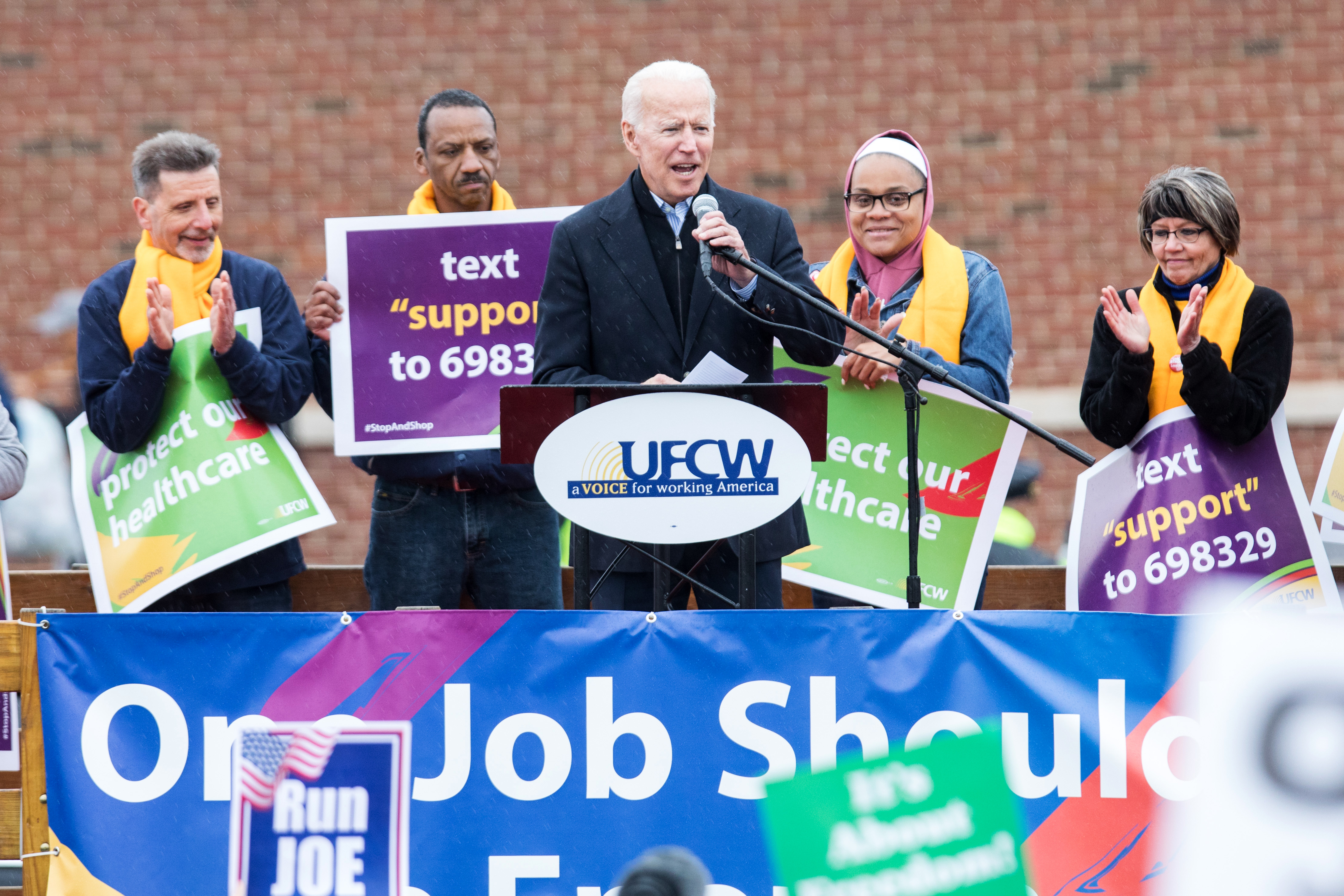 Former Vice President Joe Biden speaks in front of a Stop & Shop in support of union workers on April 18, 2019 in Dorchester, Massachusetts. (Photo by Scott Eisen/Getty Images)