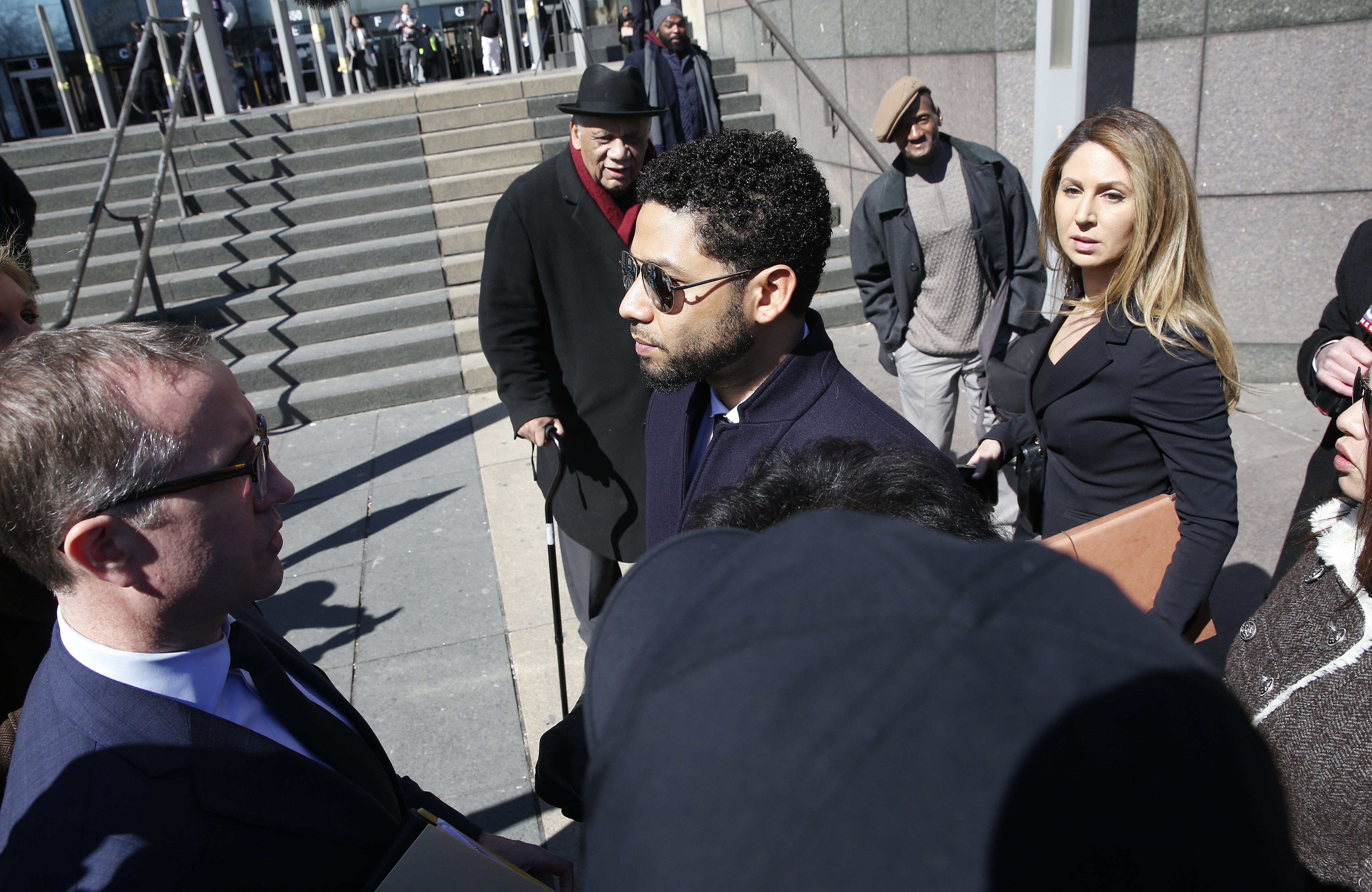 Actor Jussie Smollett leaves after his court appearance at Leighton Courthouse on March 26, 2019 in Chicago, Illinois. This morning in court it was announced that all charges were dropped against the actor. (Photo by Nuccio DiNuzzo/Getty Images)