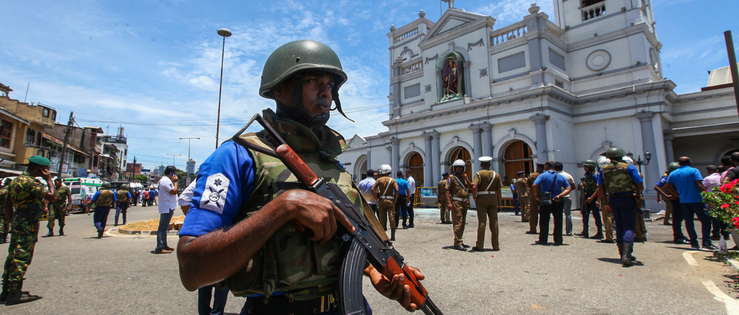 COLOMBO, SRI LANKA - APRIL 21: Sri Lankan security forces secure the area around St. Anthony's Shrine after an explosion hit St Anthony's Church in Kochchikade on April 21, 2019 in Colombo, Sri Lanka. At least 207 people have been killed and hundreds more injured after multiple explosions rocked three churches and three luxury hotels in and around Colombo as well as at Batticaloa in Sri Lanka during Easter Sunday mass. (Photo by Stringer/Getty Images)