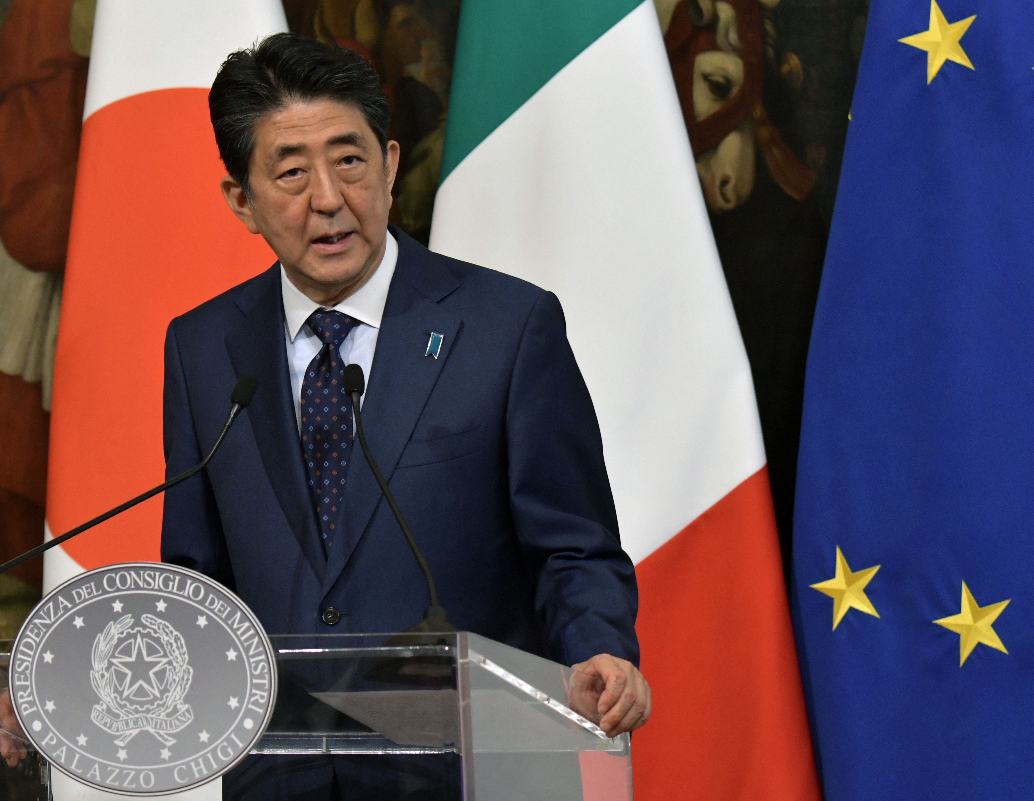 Japan's Prime Minister Shinzo Abe delivers a speech during a joint press conference with Italian Prime Minister following their meeting at the Palazzo Chigi, in Rome, on April 24, 2019. (TIZIANA FABI/AFP/Getty Images)