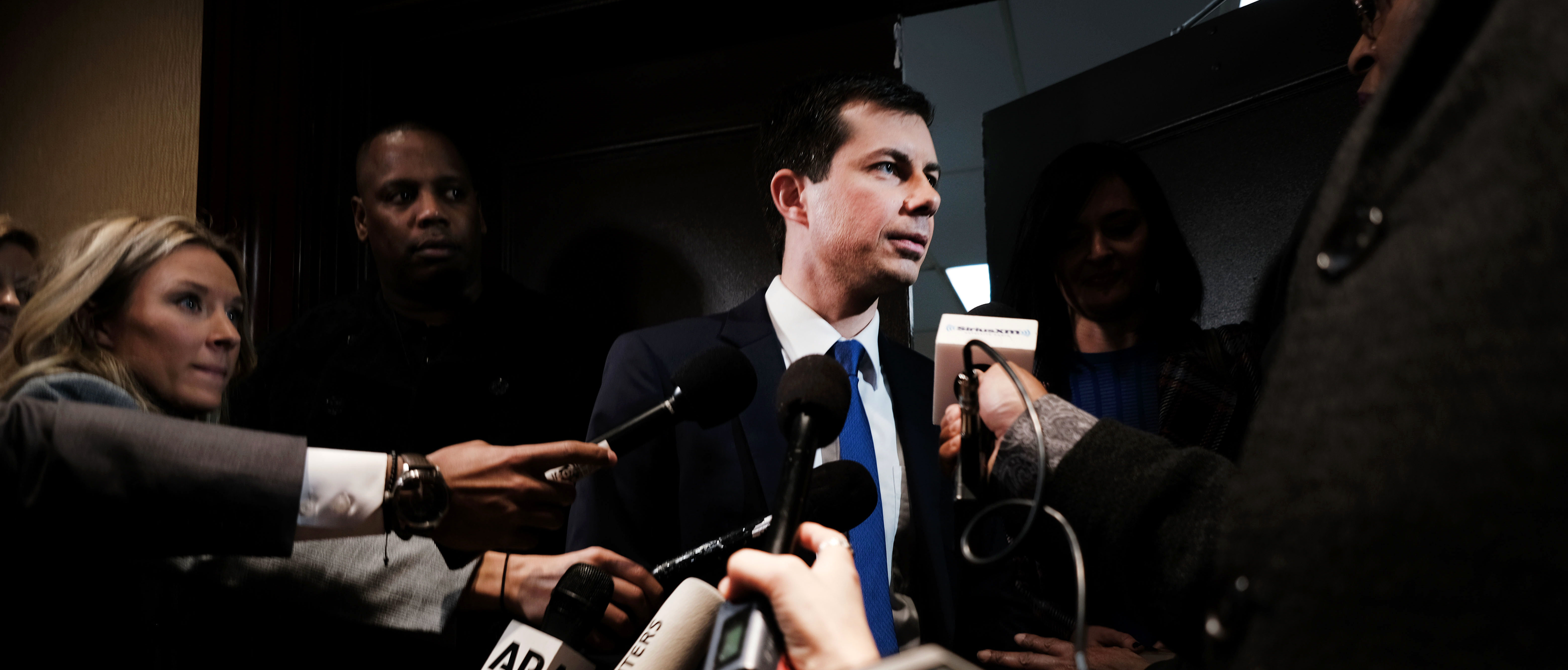 NEW YORK, NEW YORK - APRIL 04: Democratic presidential hopeful South Bend, Indiana mayor Pete Buttigieg speaks to the media at the National Action Network's annual convention on April 4, 2019 in New York City. A dozen 2020 Democratic presidential candidates will speak at the organization's convention this week. Founded by Rev. Al Sharpton in 1991, the National Action Network is one of the most influential African American organizations dedicated to civil rights in America. (Photo by Spencer Platt/Getty Images)