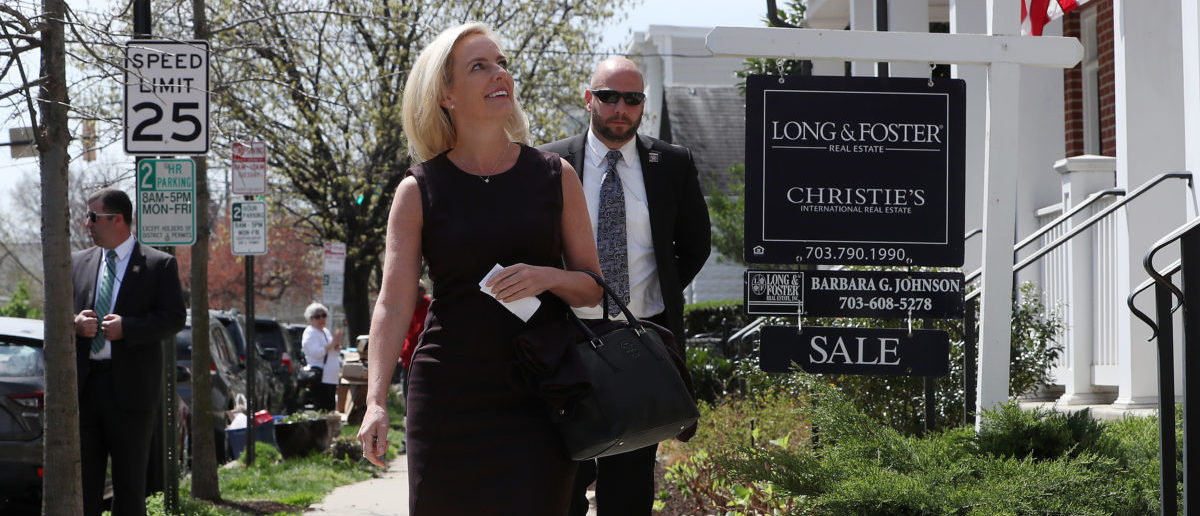 ALEXANDRIA, VIRGINIA - APRIL 08: Outgoing Department of Homeland Security Secretary Kirstjen Nielsen walks out of her home to speak to the media on April 08, 2019 in Alexandria, Virginia. (Mark Wilson/Getty Images)