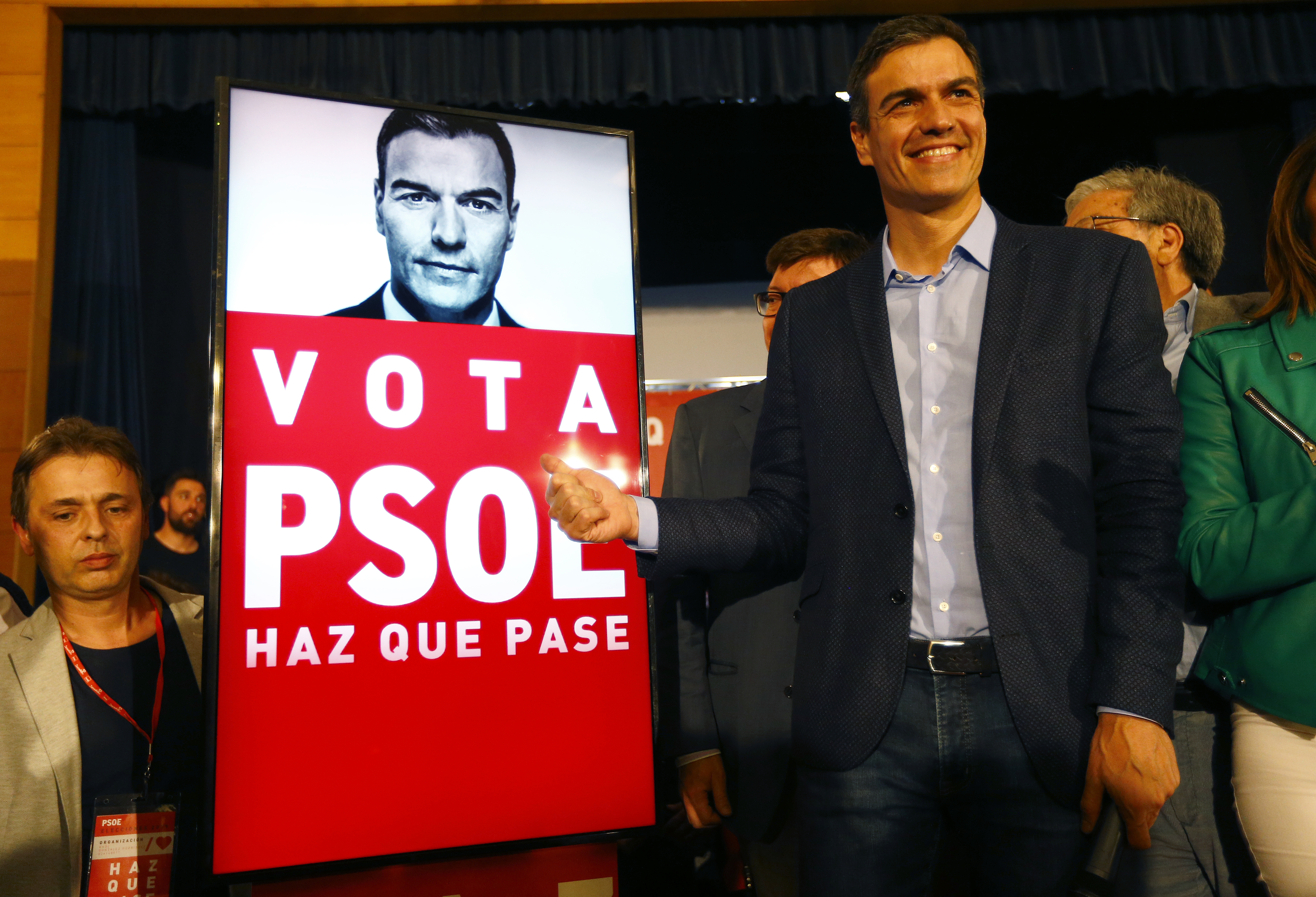 SEVILLE, SPAIN - APRIL 11: Spain's Prime Minister Pedro Sanchez and Socialist Party (PSOE) candidate for the Spain's general election reacts as he opens the election campaign on April 11, 2019 in Dos Hermanas, Spain. (Marcelo del Pozo/Getty Images)