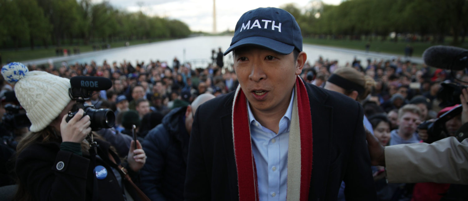 Presidential Candidate Andrew Yang Holds A Campaign Rally At The Lincoln Memorial (Photo by Alex Wong/Getty Images)