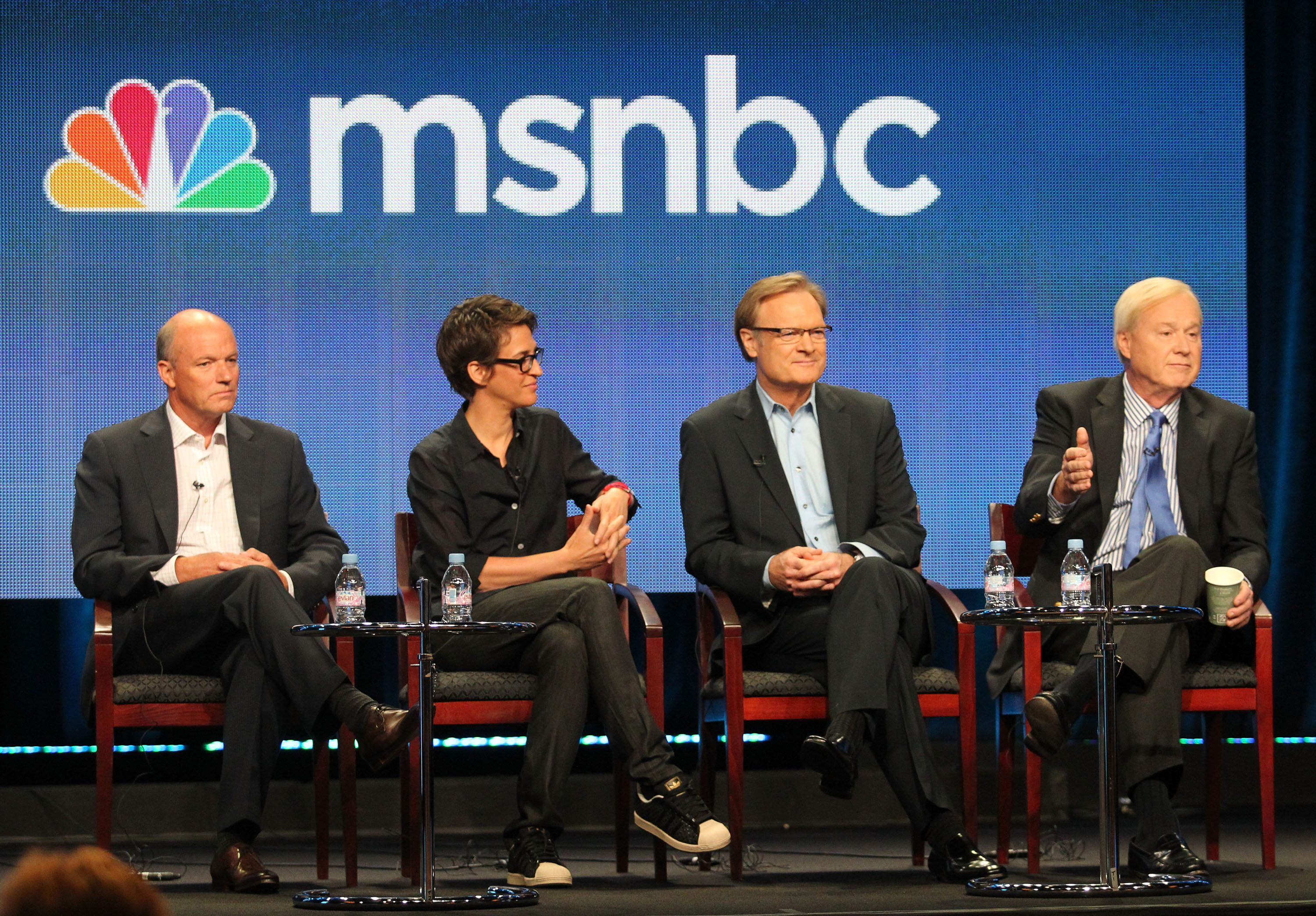 President of MSNBC Phil Griffin, host of 'The Rachel Maddow Show' Rachel Maddow, host of 'The Last Word' Lawrence O' Donnell and host of 'Hardball' Chris Matthews speak during the 'MSNBC' panel during the NBC Universal portion of the 2011 Summer TCA Tour held at the Beverly Hilton Hotel on August 2, 2011 in Beverly Hills, California. (Photo by Frederick M. Brown/Getty Images)