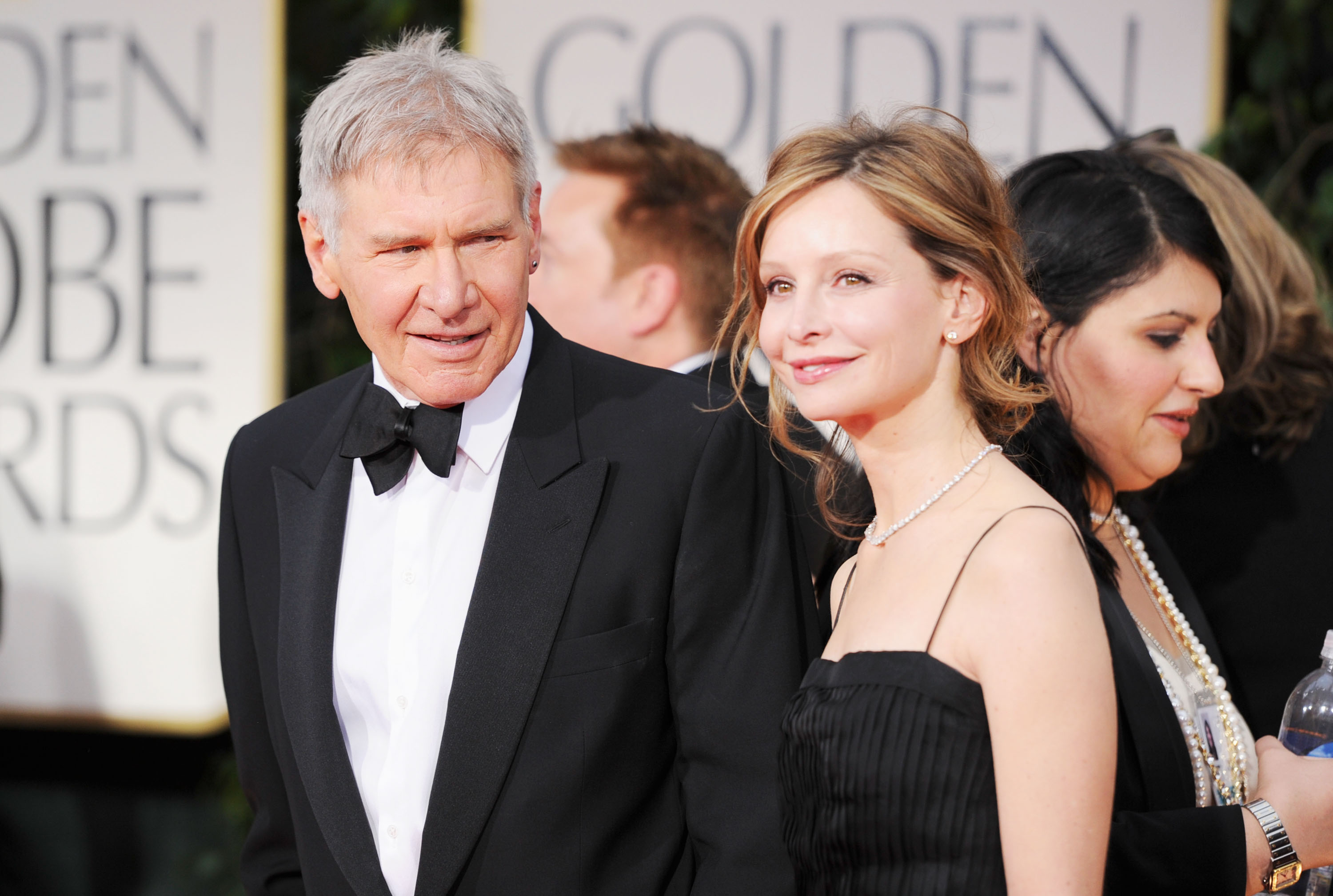 Actors Harrison Ford and Calista Flockhart arrive at the 69th Annual Golden Globe Awards held at the Beverly Hilton Hotel on January 15, 2012 in Beverly Hills, California. (Photo by Frazer Harrison/Getty Images)
