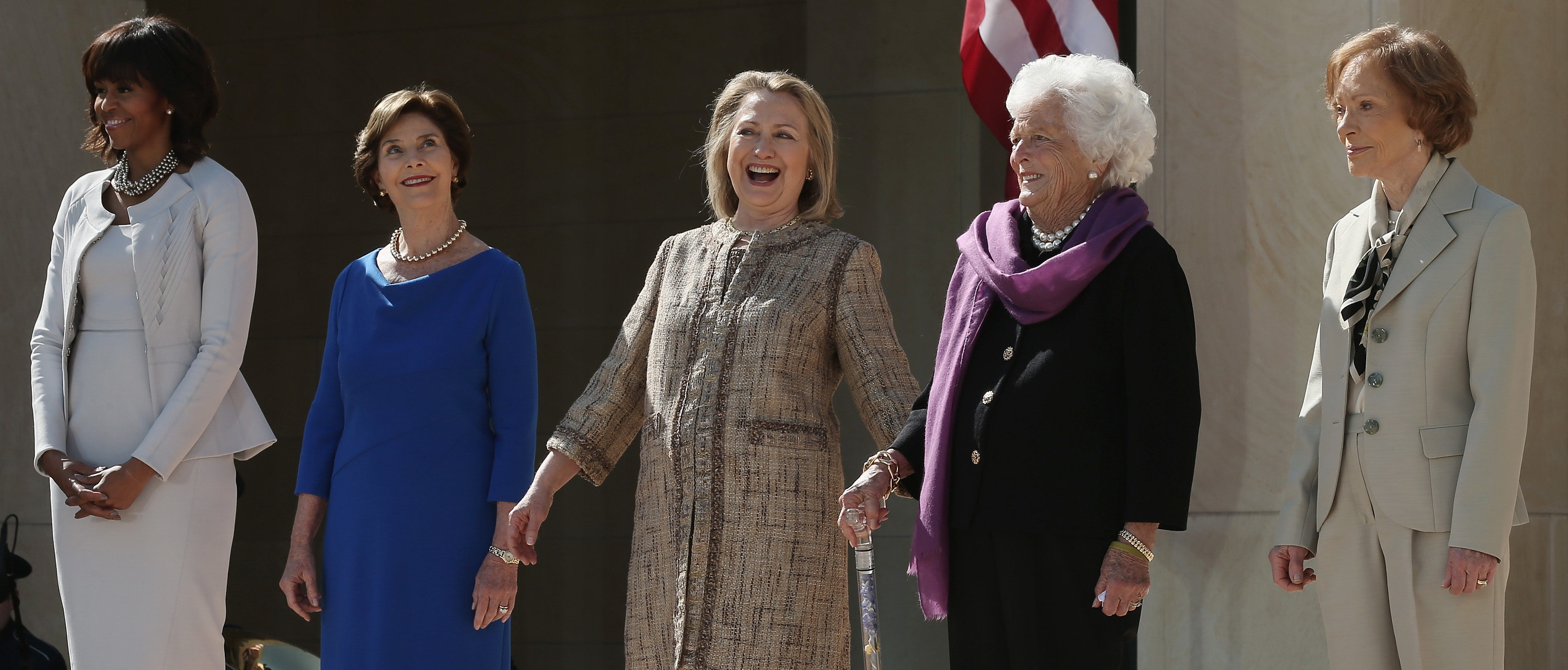 DALLAS, TX - APRIL 25: (L-R) First lady Michelle Obama, former first lady Laura Bush, former first lady Hillary Clinton, former first lady Barbara Bush and former first lady Rosalynn Carter attend the opening ceremony of the George W. Bush Presidential Center April 25, 2013 in Dallas, Texas. The Bush library, which is located on the campus of Southern Methodist University, with more than 70 million pages of paper records, 43,000 artifacts, 200 million emails and four million digital photographs, will be opened to the public on May 1, 2013. The library is the 13th presidential library in the National Archives and Records Administration system. (Photo by Alex Wong/Getty Images)