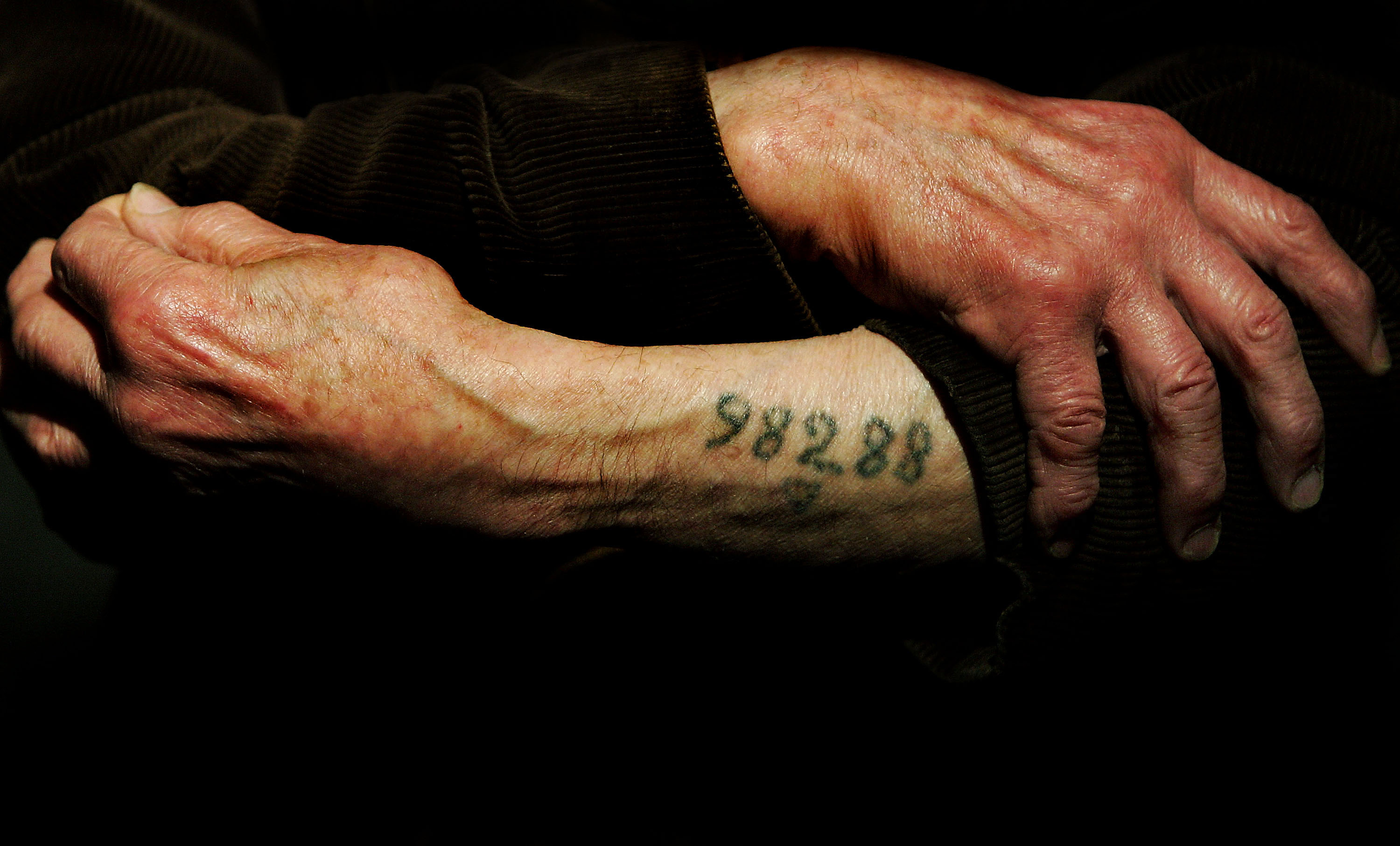 LONDON - DECEMBER 9: Auschwitz survivor Mr. Leon Greenman, prison number 98288, displays his number tattoo on December 9, 2004 at the Jewish Museum in London, England. Mr. Greenman O.B.E age 93 and a British citizen, spent three years of his life in six different concentration camps during World War II and since 1946 he has tirelessly recounted his life through his personal exhibition at the museum where he conducts educational events to all age groups. January 2005 will be the 60th anniversary of the liberation of the extermination and concentration camps, when survivors and victims who suffered as a result of the Holocaust will commemorated across the world. (Photo by Ian Waldie/Getty Images)