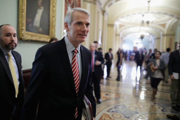 WASHINGTON, DC - MAY 17: Sen. Rob Portman (R-OH) leaves the weekly Senate Republican policy luncheon in the U.S. Capitol May 17, 2016 in Washington, DC. Despite having an $11 million war chest, Portman is facing a tough re-election campaign against former Ohio Gov. Ted Strickland. (Photo by Chip Somodevilla/Getty Images)