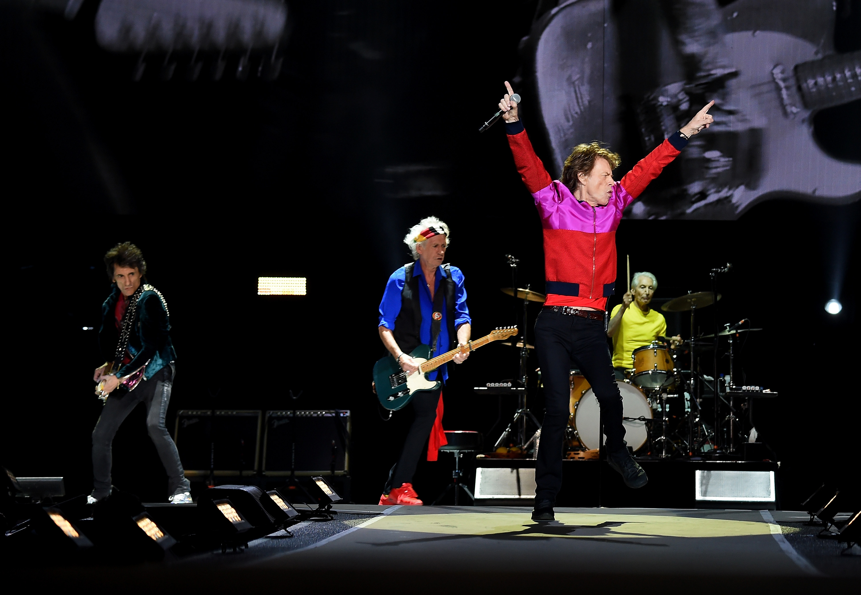(L-R) Musician Ronnie Wood, musicians Keith Richards, singer Mick Jagger and musician Charlie Watts of The Rolling Stones perform during Desert Trip at the Empire Polo Field on October 14, 2016 in Indio, California. (Photo by Kevin Winter/Getty Images)