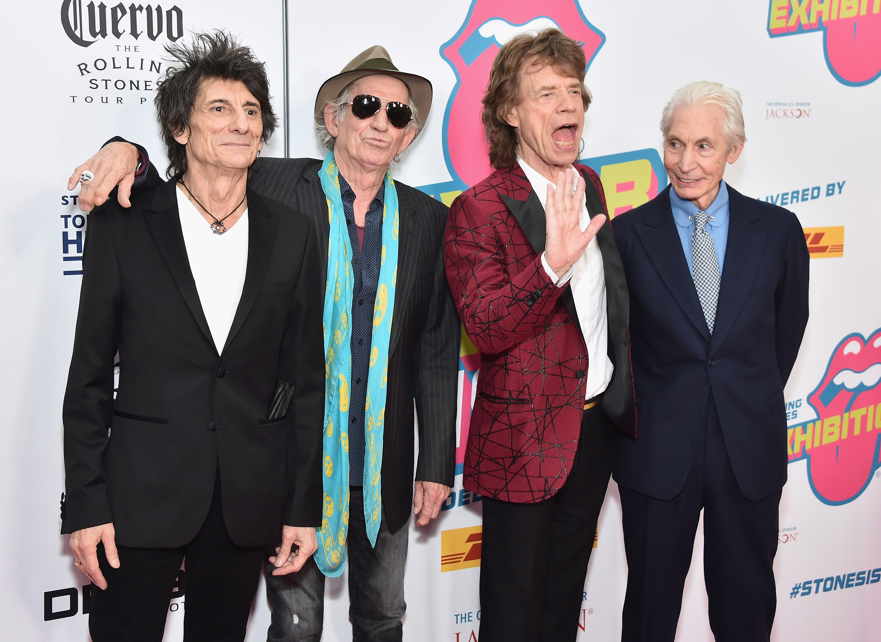(L-R) Ronnie Wood, Keith Richards, Mick Jagger, and Charlie Watts of The Rolling Stones attend The Rolling Stones celebrate the North American debut of Exhibitionism at Industria in the West Village on November 15, 2016 in New York City. (Photo by Michael Loccisano/Getty Images)