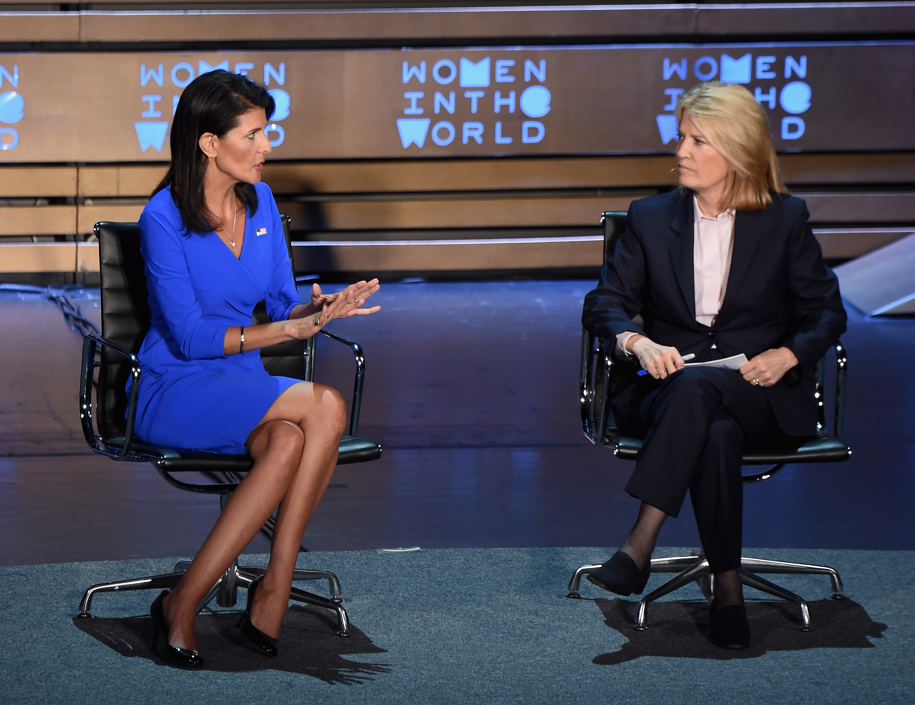 United States Ambassador to the United Nations, Nikki Haley and news anchor Greta Van Susteren speak during the Eighth Annual Women In The World Summit at Lincoln Center for the Performing Arts on April 5, 2017 in New York City. (Photo by Michael Loccisano/Getty Images)