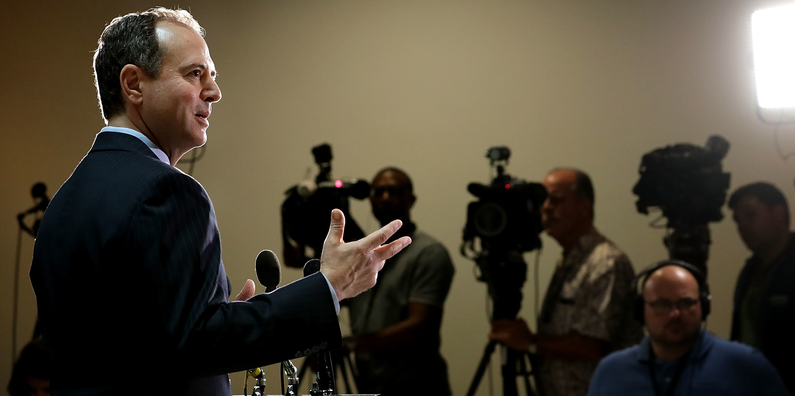 House Intelligence Committee ranking member Rep. Adam Schiff (D-CA) speaks to reporters about the recent disclosure of a meeting between Donald Trump, Jr. and a Russian lawyer during the presidential campaign in the Capitol Visitors Center July 11, 2017 in Washington, DC. (Photo by Chip Somodevilla/Getty Images)