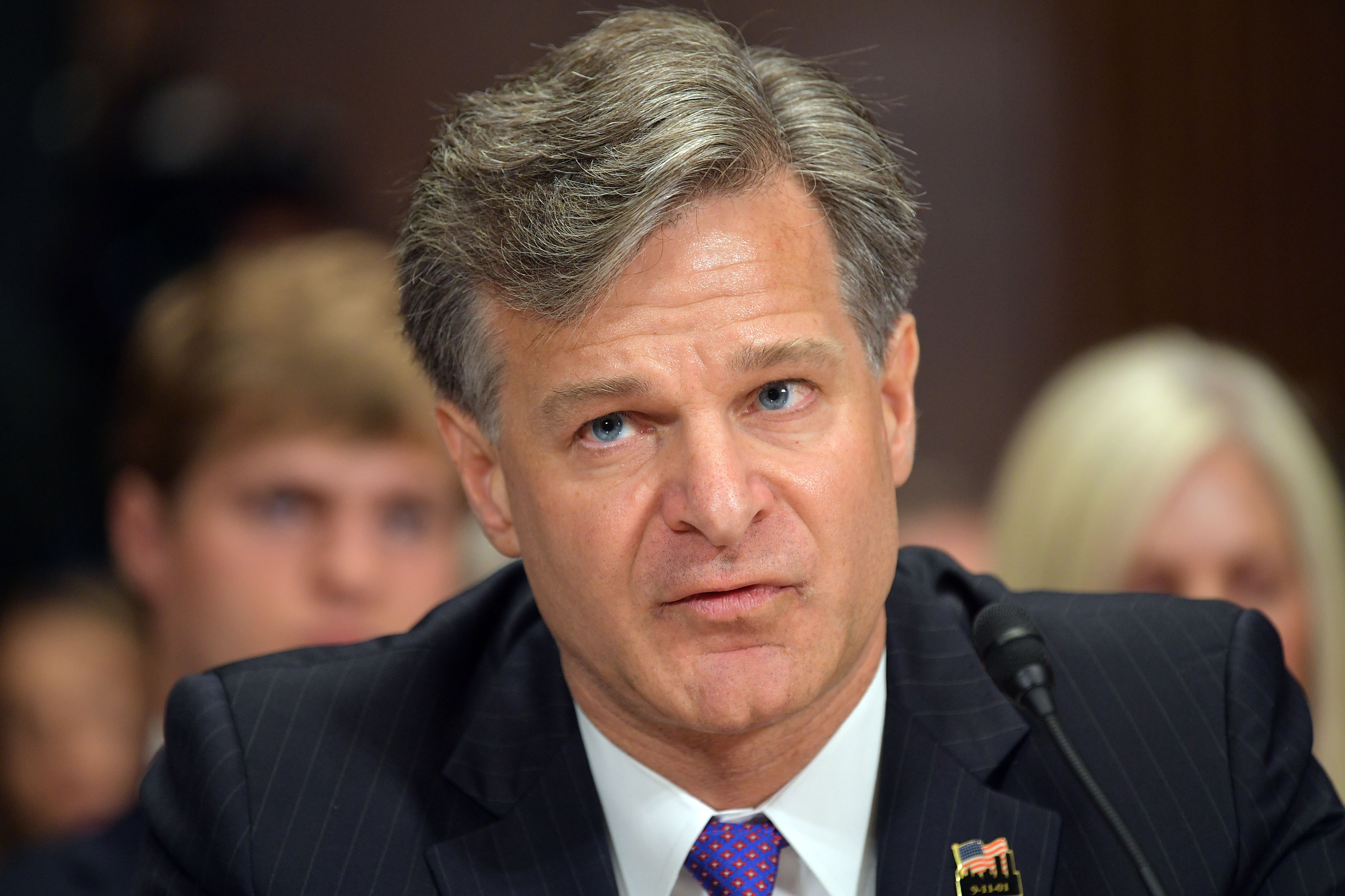 Christopher Wray testifies before the Senate Judiciary Committee on his nomination to be the director of the Federal Bureau of Investigation in the Dirksen Senate Office Building on Capitol Hill on July 12, 2017 in Washington,DC. (MANDEL NGAN/AFP/Getty Images)
