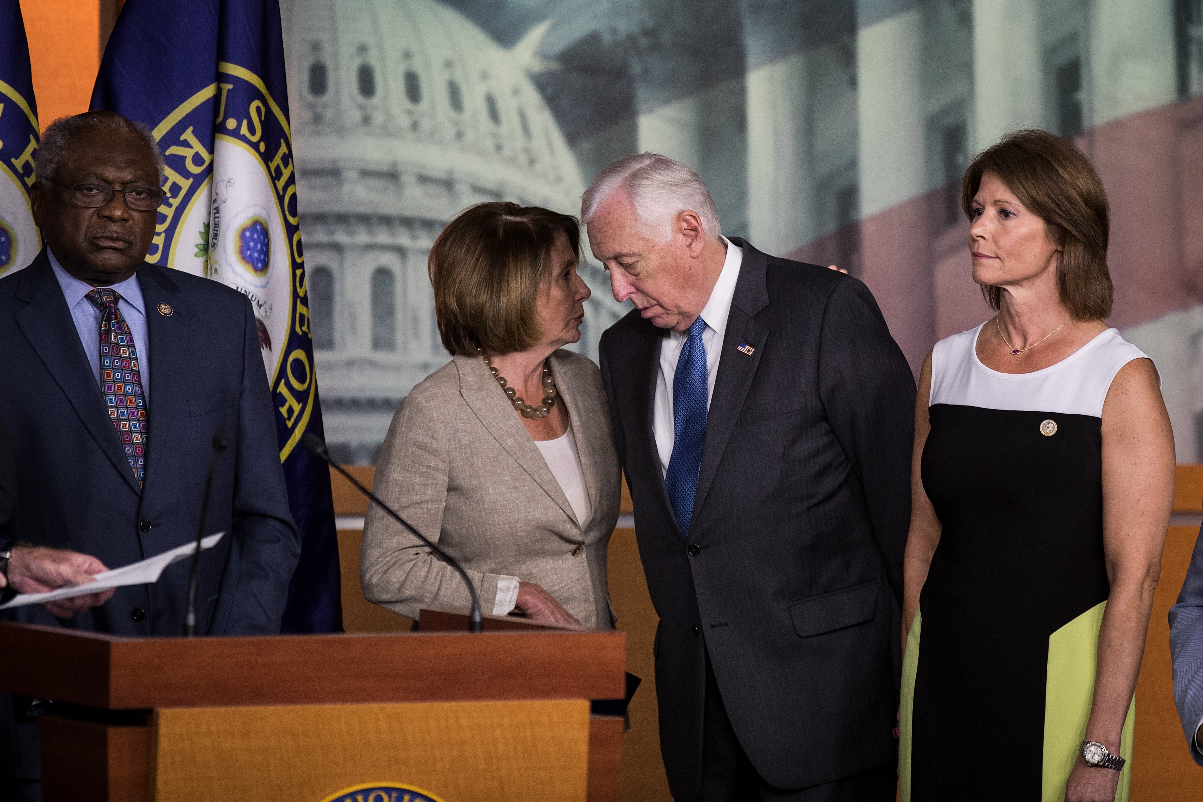 (L to R) Rep. James Clyburn, House Minority Leader Nancy Pelosi, Rep. Steny Hoyer and Rep. Cheri Bustos attend a press conference regarding the Senate's defeat of the GOP health care plan, on Capitol Hill, July 28, 2017 in Washington, DC. (Photo by Drew Angerer/Getty Images)