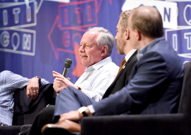 PASADENA, CA - JULY 30: (L-R) William Kristol, Joel Pollak, and Paul Begala at the 'Deconstructing: How Trump Won' panel during Politicon at Pasadena Convention Center on July 30, 2017 in Pasadena, California. (Photo by Joshua Blanchard/Getty Images for Politicon)