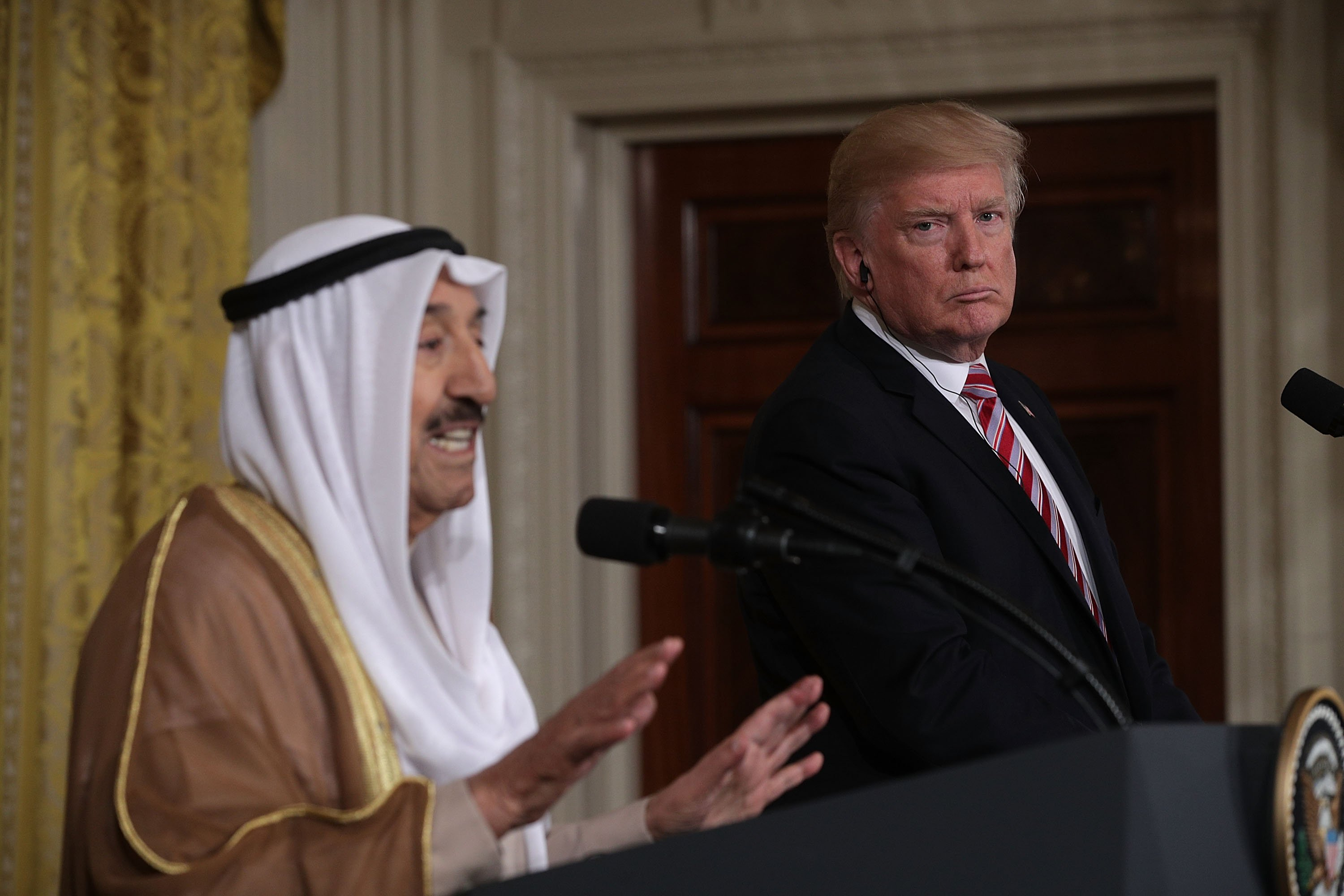 Amir Sabah Al-Ahmad Al-Jaber Al-Sabah of Kuwait (L) and U.S. President Donald Trump (R) participate in a joint news conference in the East Room of the White House September 7, 2017 in Washington, DC. (Photo by Alex Wong/Getty Images)