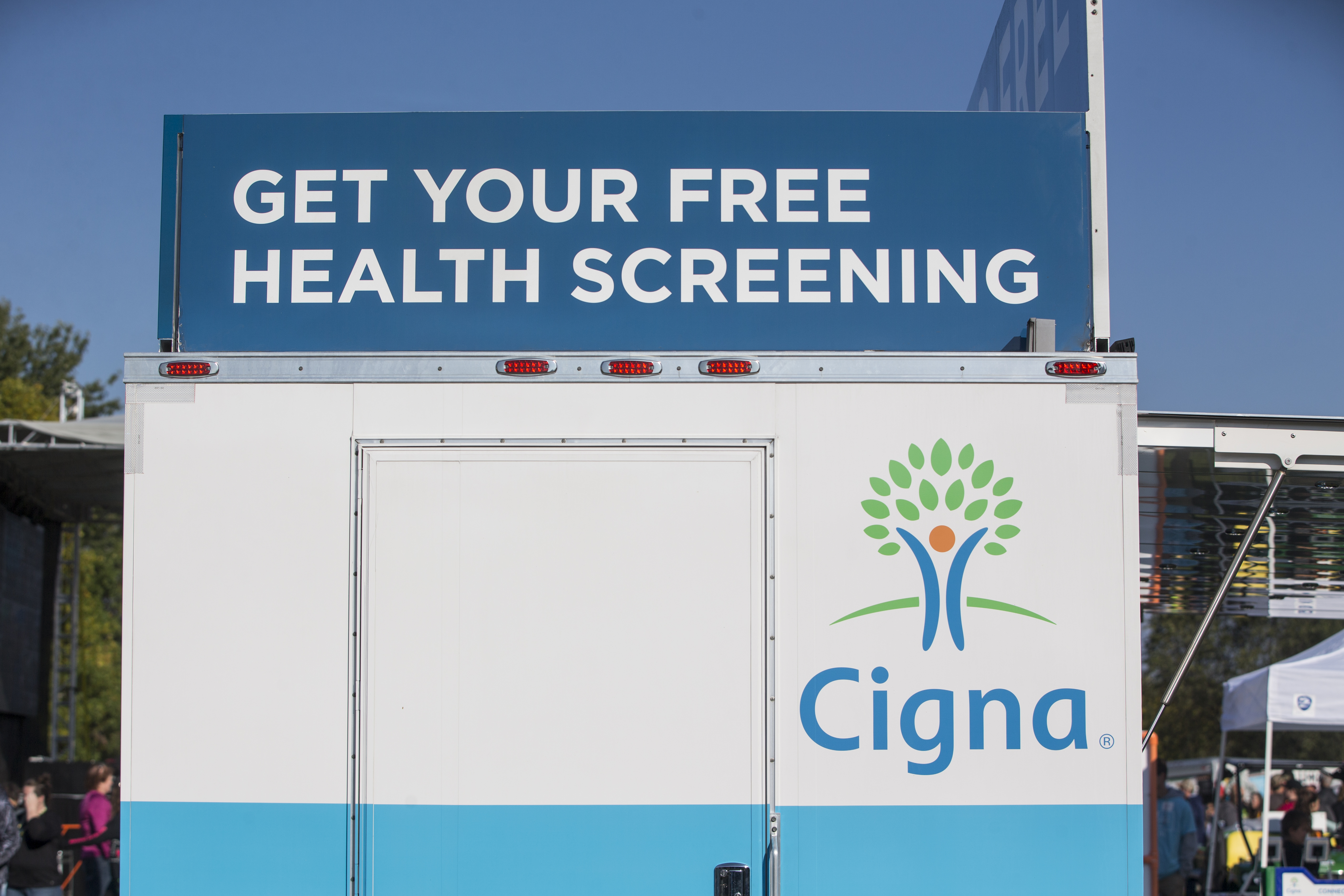 LEWISTON, ME - OCTOBER 07: Signage on the Cigna Foundation Health Improvement Tour Mobile Unit at the Annual Dempsey Challenge on October 7, 2017 in Lewiston, Maine. (Scott Eisen/Getty Images for Patrick Dempsey Center)
